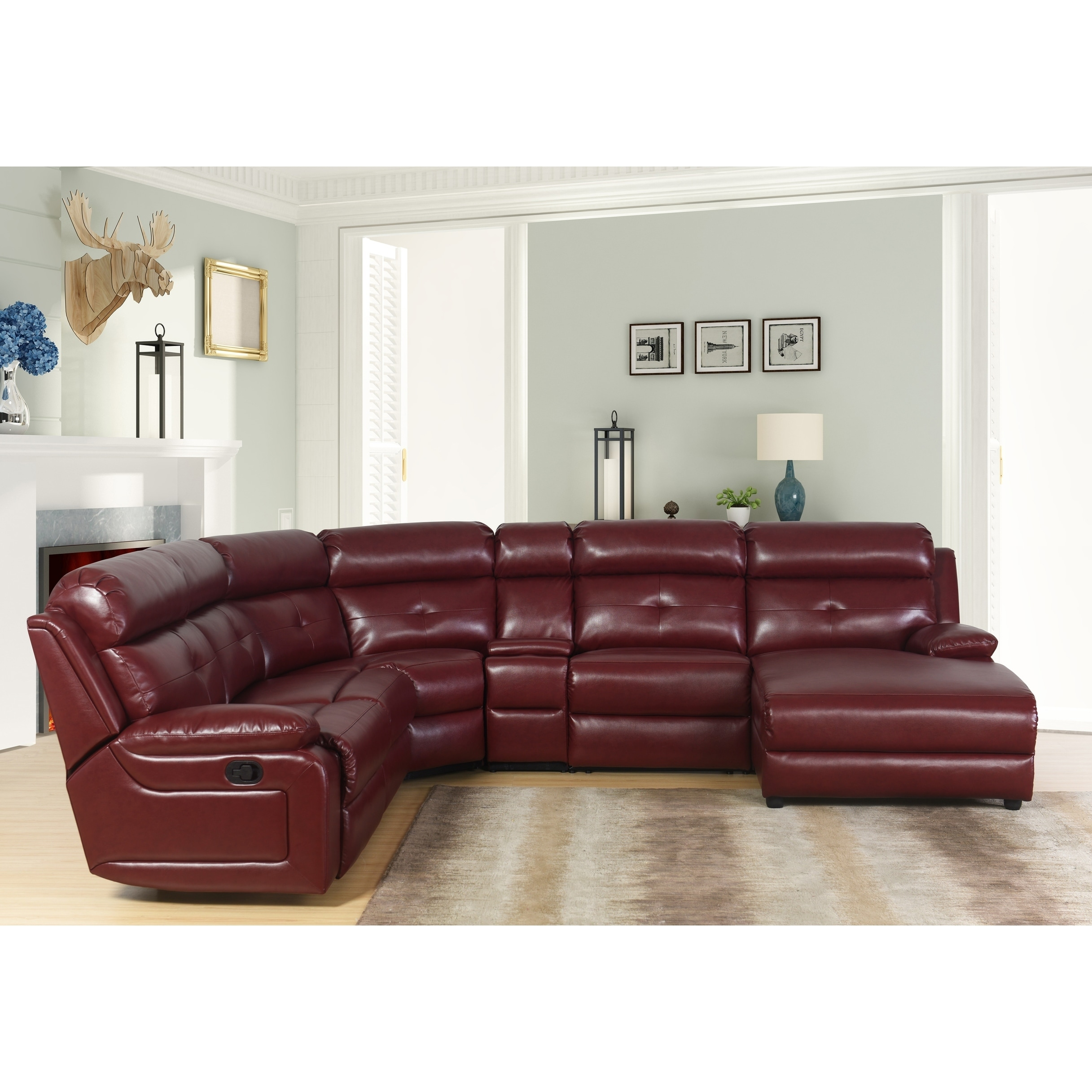 Shop Abbyson Stevens 6 Piece Red Bonded Leather Reclining Sectional