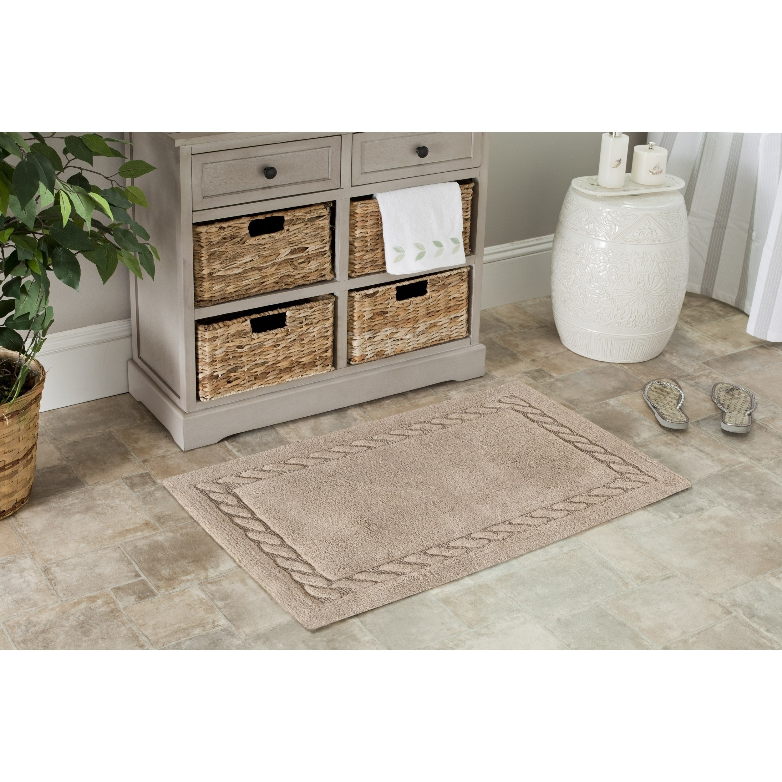 Safavieh Plush Master Cable Plush Linen Bath Rug (Set Of