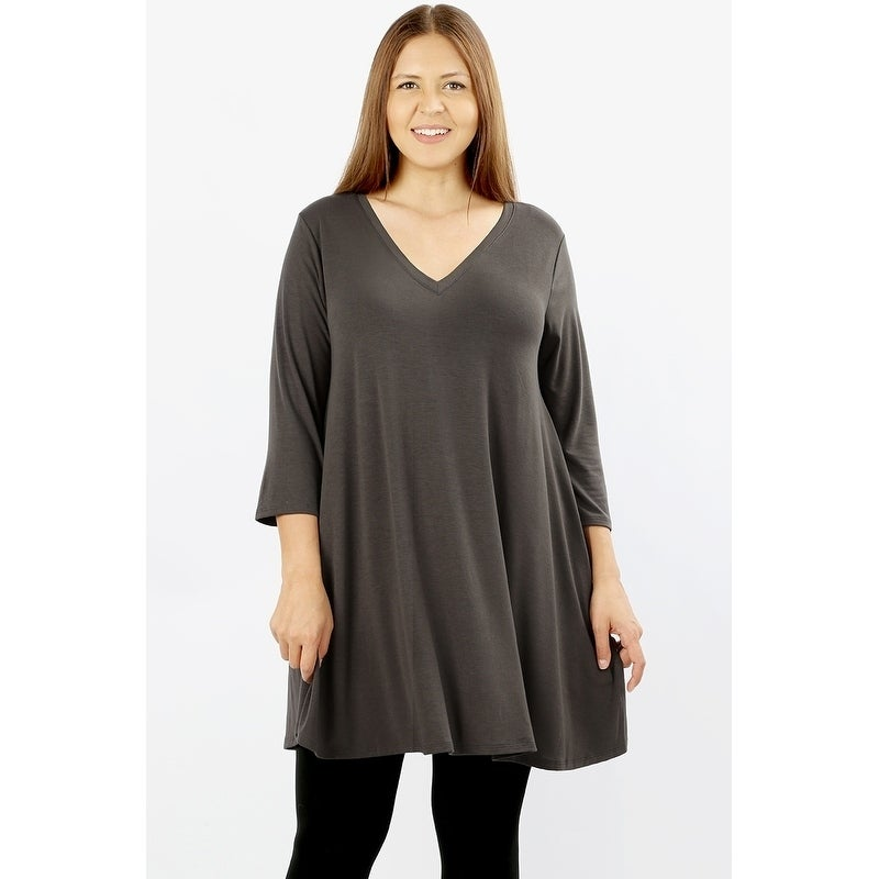 2849b423388 Shop JED Women's Plus Size Longline V-Neck Tunic Top with Pockets ...