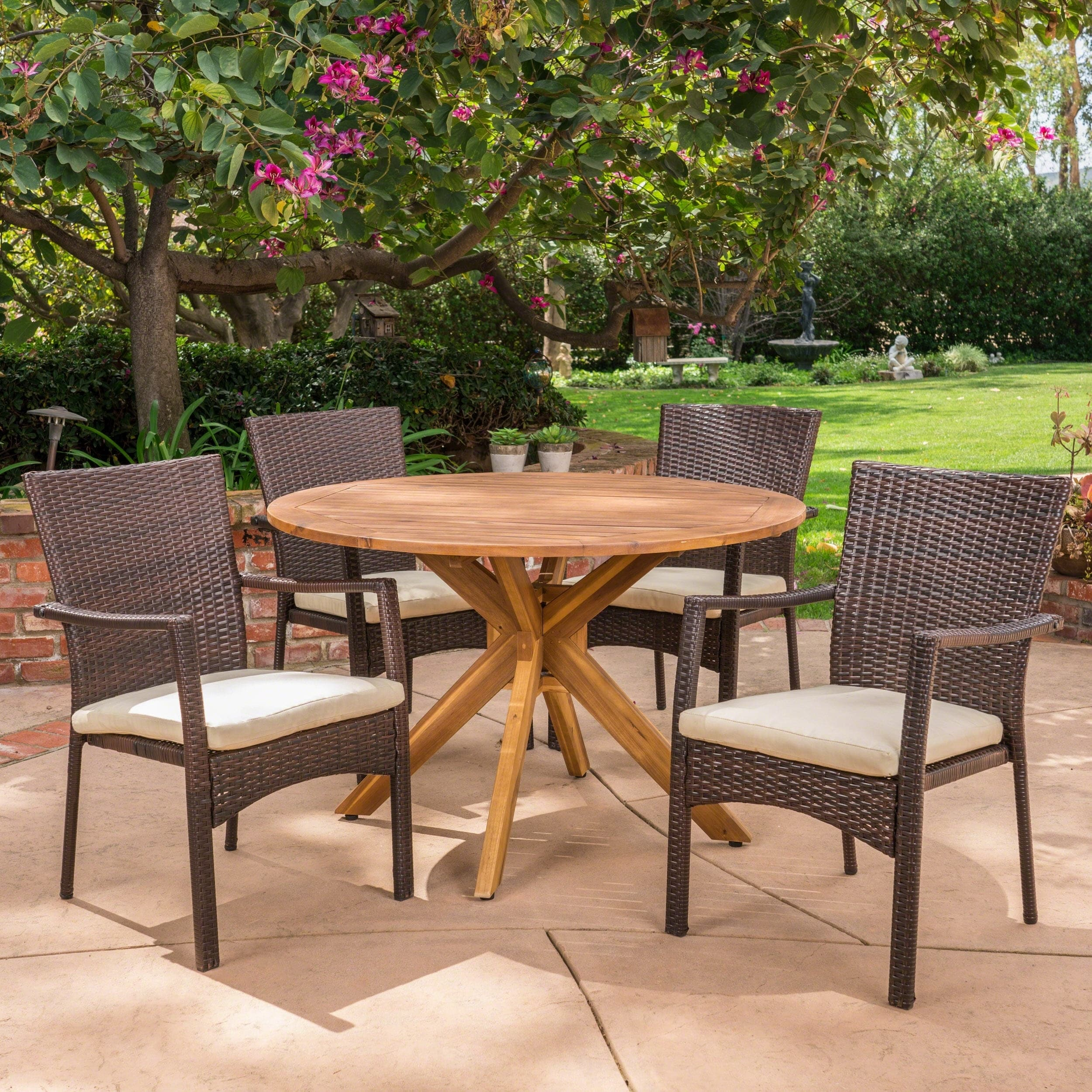 Shop Stamford Outdoor 5 Piece PE Wicker Dining Set with Circular ...