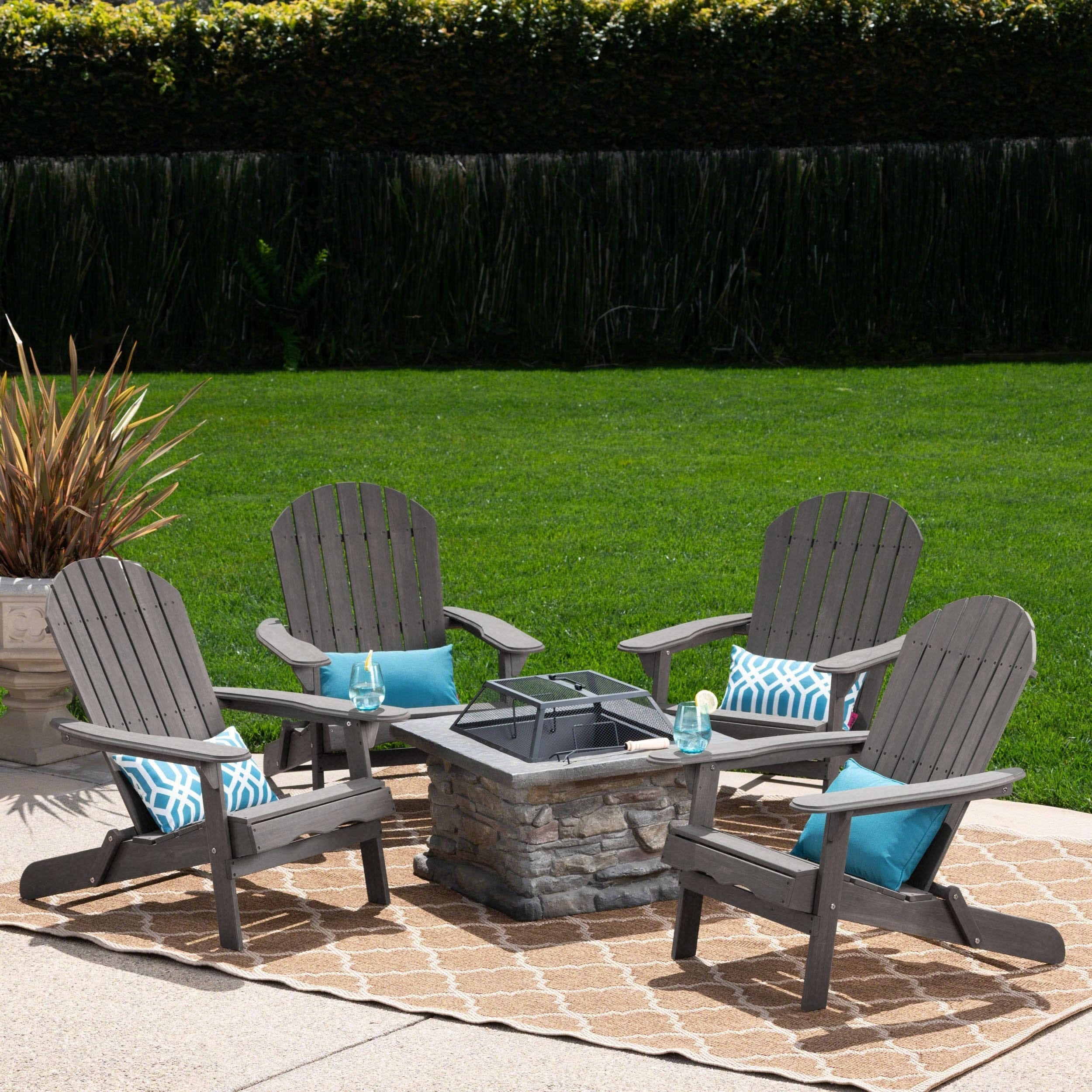 Marrion Outdoor 5 Piece Adirondack Chair Set With Fire Pit By Christopher Knight Home On Free Shipping Today 21135655