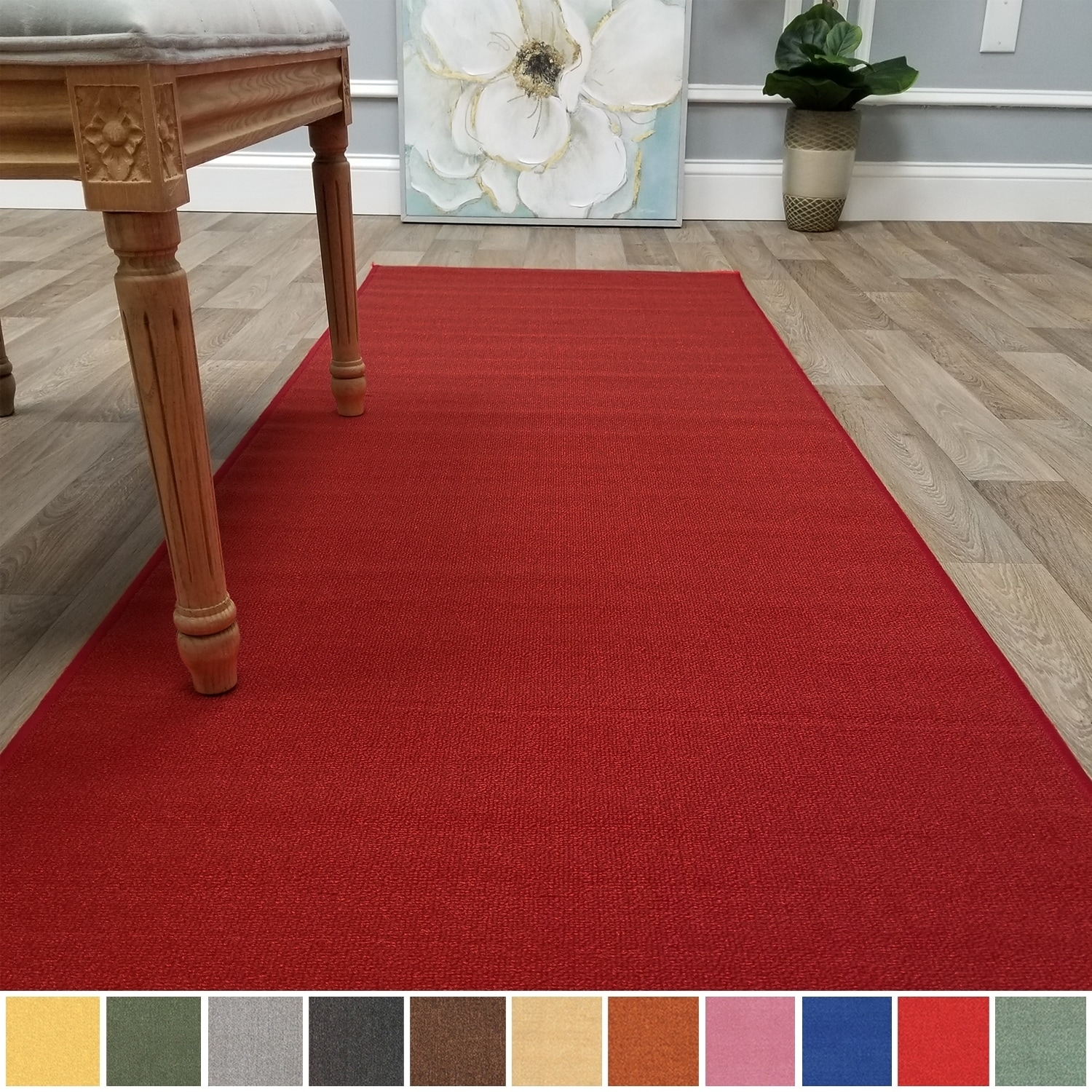 2x8 runner rug. Shop Kapaqua Solid Colored Non-Slip Runner Rug Rubber Backed 2x8 - 1\u002710\