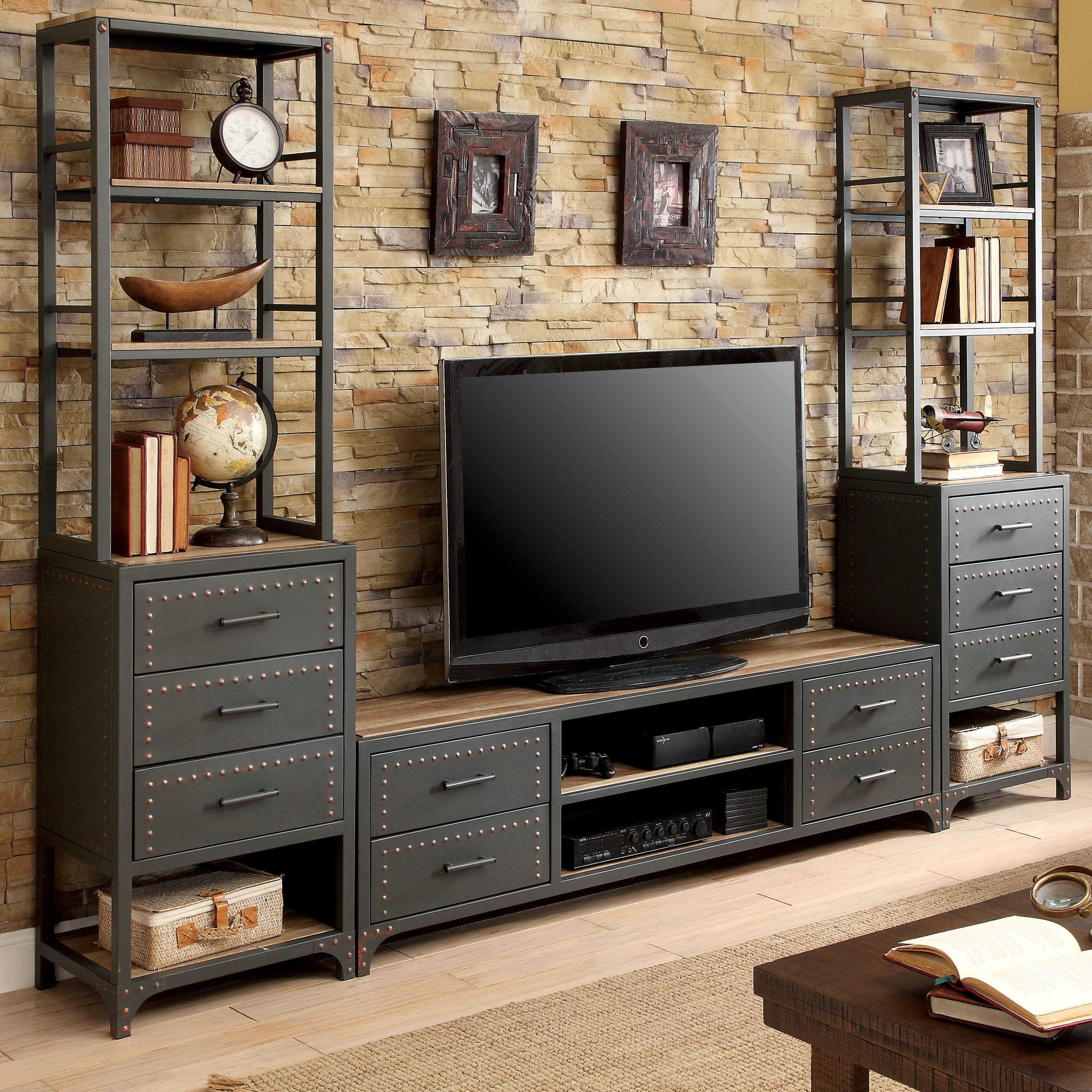 Industrial style furniture Pipe Shop Furniture Of America Vectra Industrial Style Metal Tv Stand On Sale Free Shipping Today Overstockcom 21142262 Pinterest Shop Furniture Of America Vectra Industrial Style Metal Tv Stand