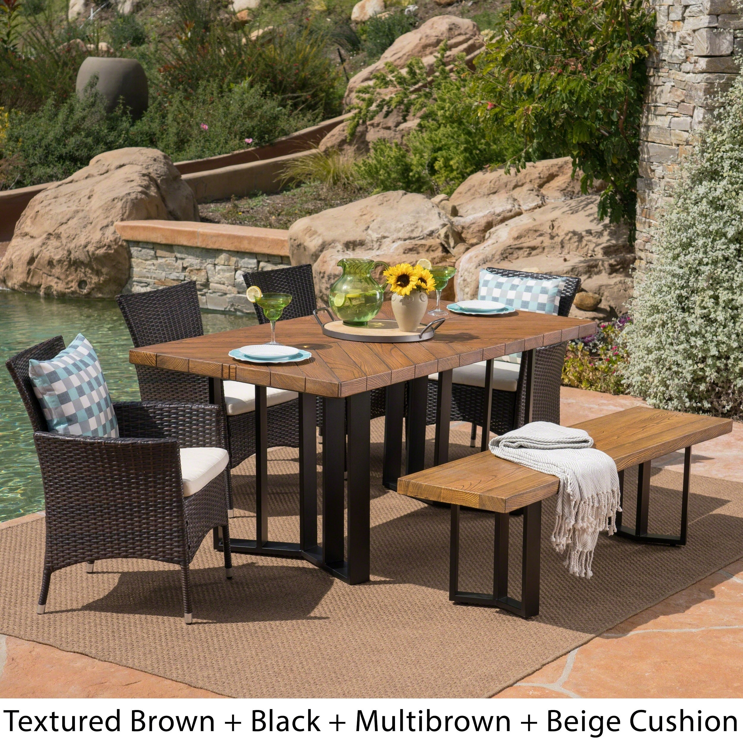 Shop Taylor Outdoor 7 Piece Wicker Dining Set with Textured Dining ...