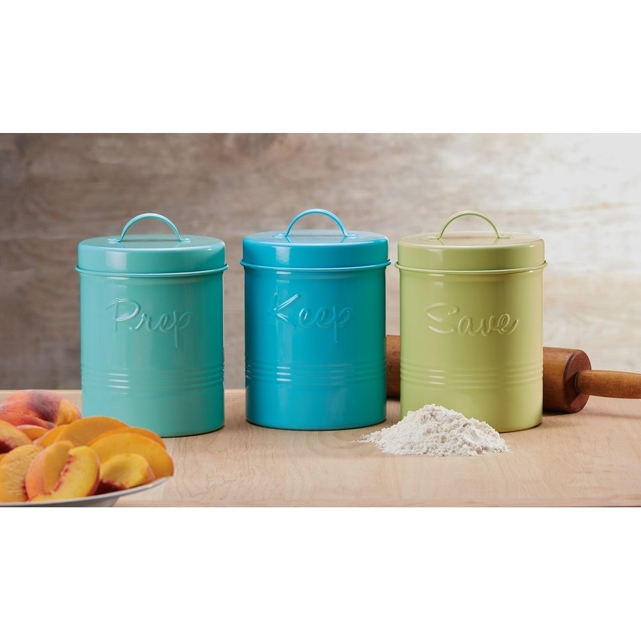 Shop Retro Fifties Metal Canisters, Assorted Set of 3 (Pear Green ...