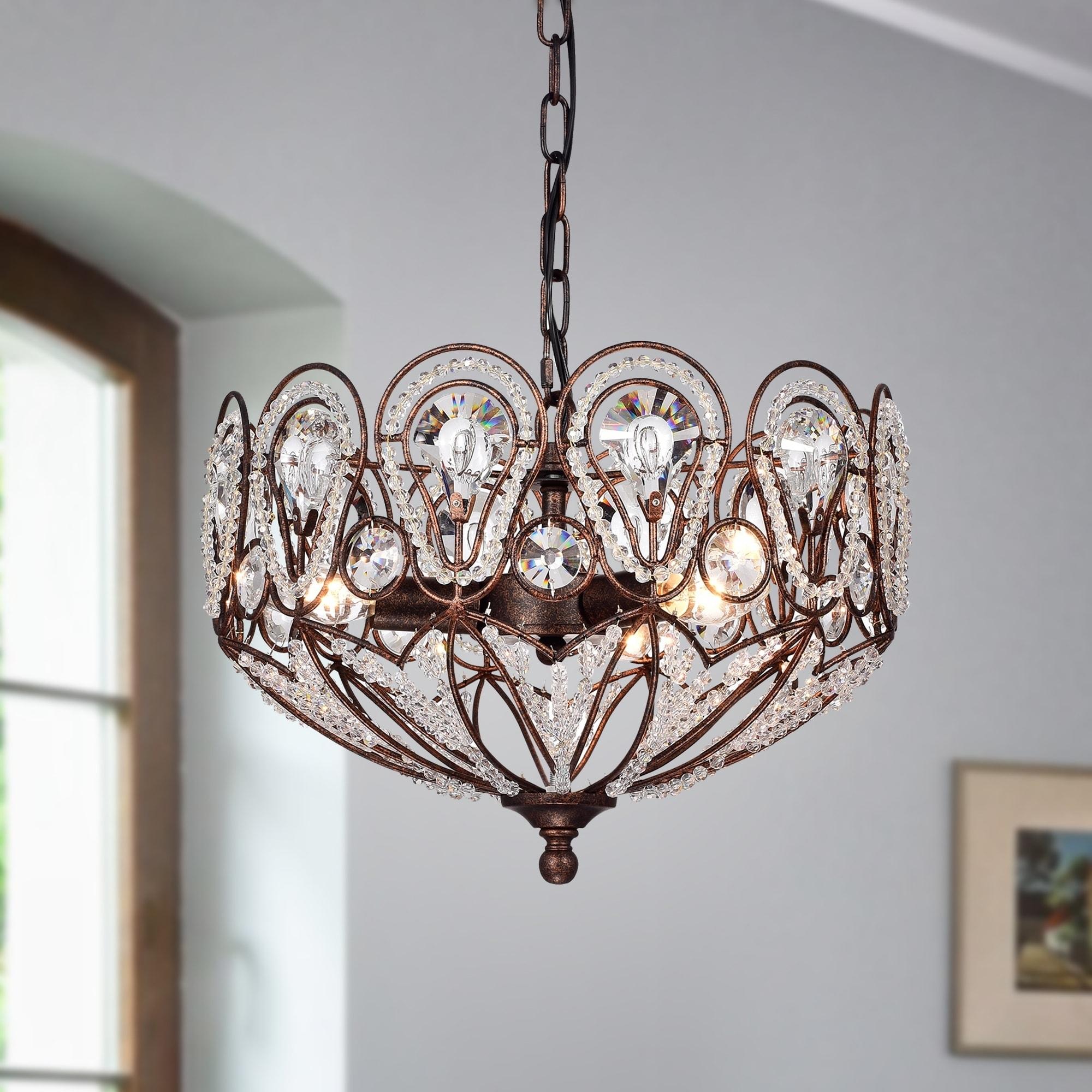 Latir rustic bronze 3 light crystal pendant lamp