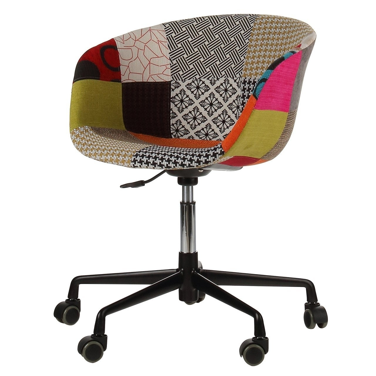 Shop danish mid century modern multicolor patch fabric upholstery office chair on sale free shipping today overstock com 21149127