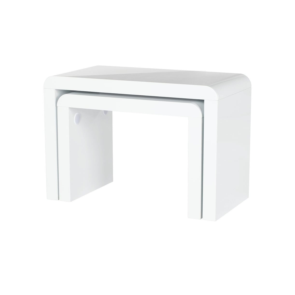 Shop End Table Prana Set Of 2, With Round Edges, White Highgloss Finish    Free Shipping Today   Overstock.com   21153719