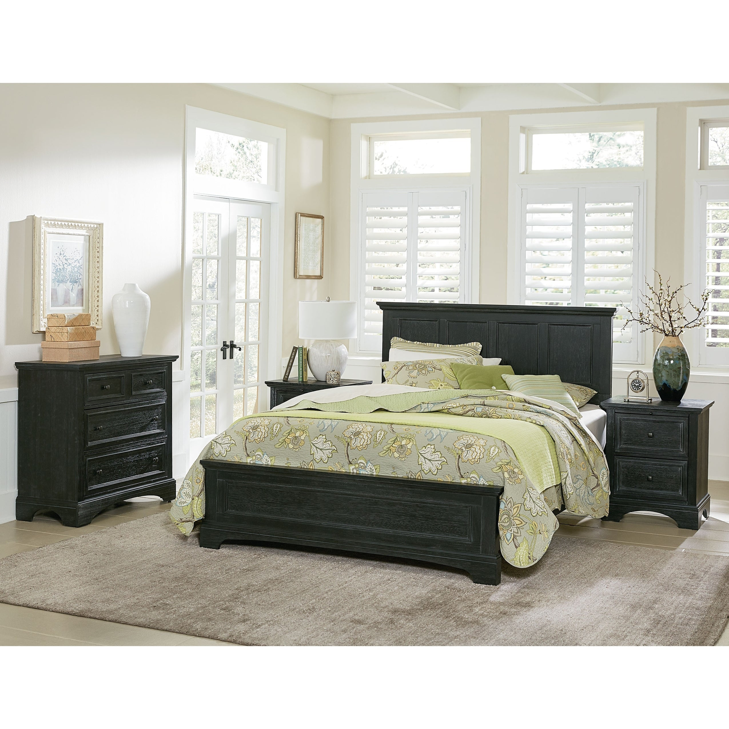 OSP Home Furnishings Farmhouse Basics King Bedroom Set with 2 Nightstands,  1 Vanity and Bench, and 1 Chest
