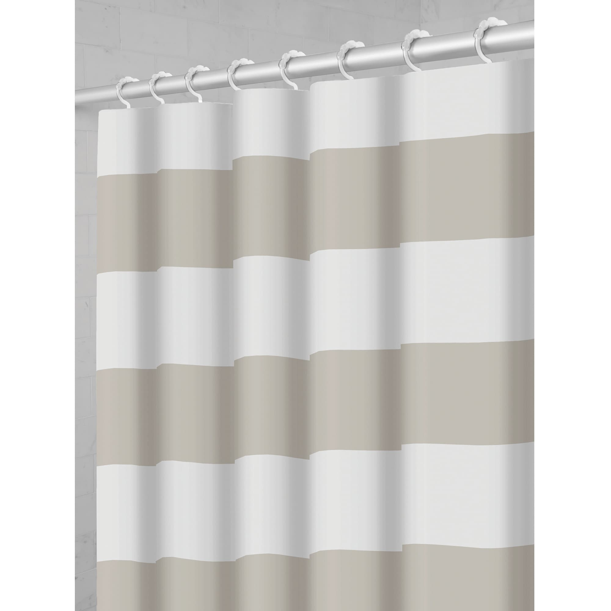 Shop Maytex Porter Stripe Fabric Shower Curtain With Attached Hooks