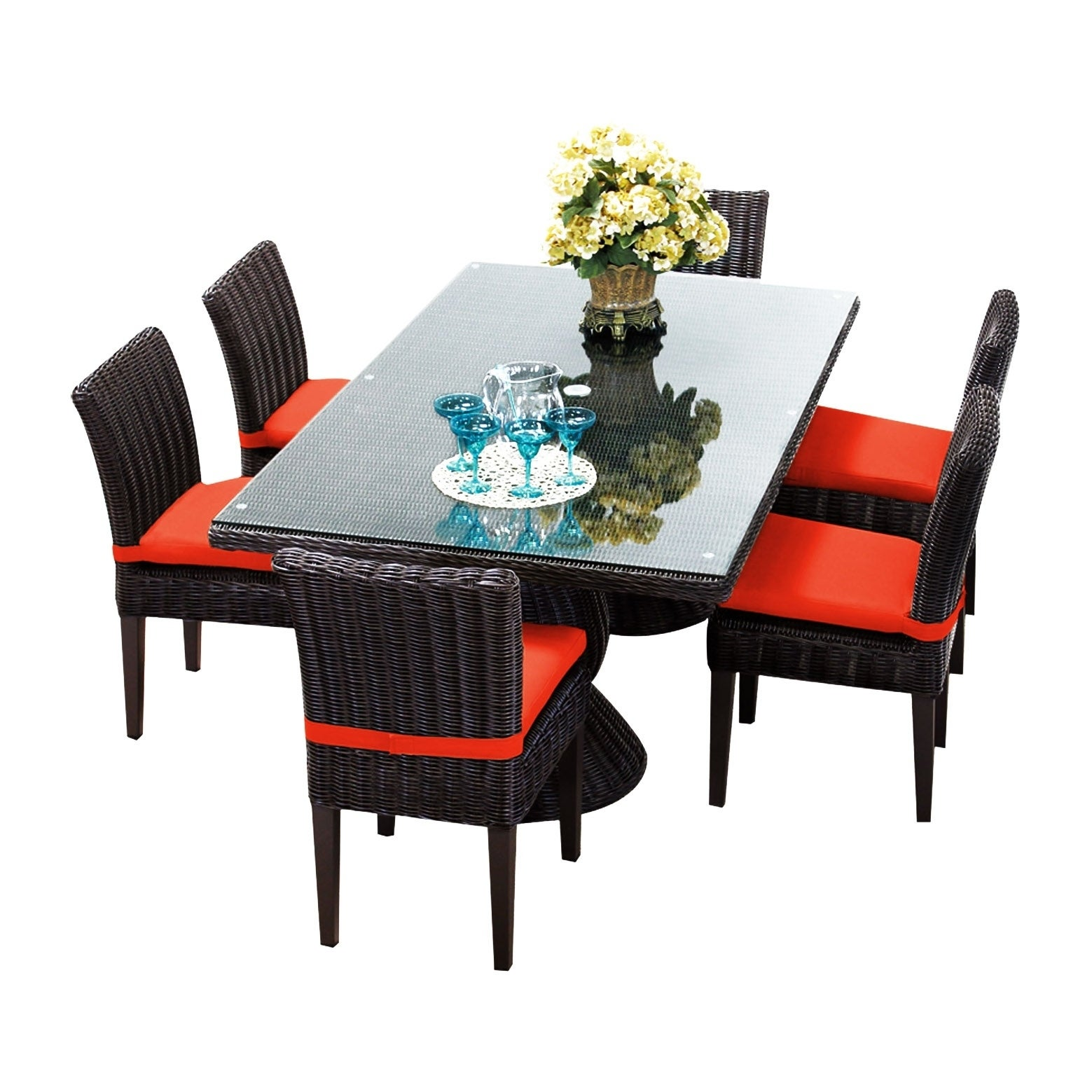 Calypso Oh0730 Outdoor Patio Wicker Dining Set With 6 Chairs Free Shipping Today 21163330