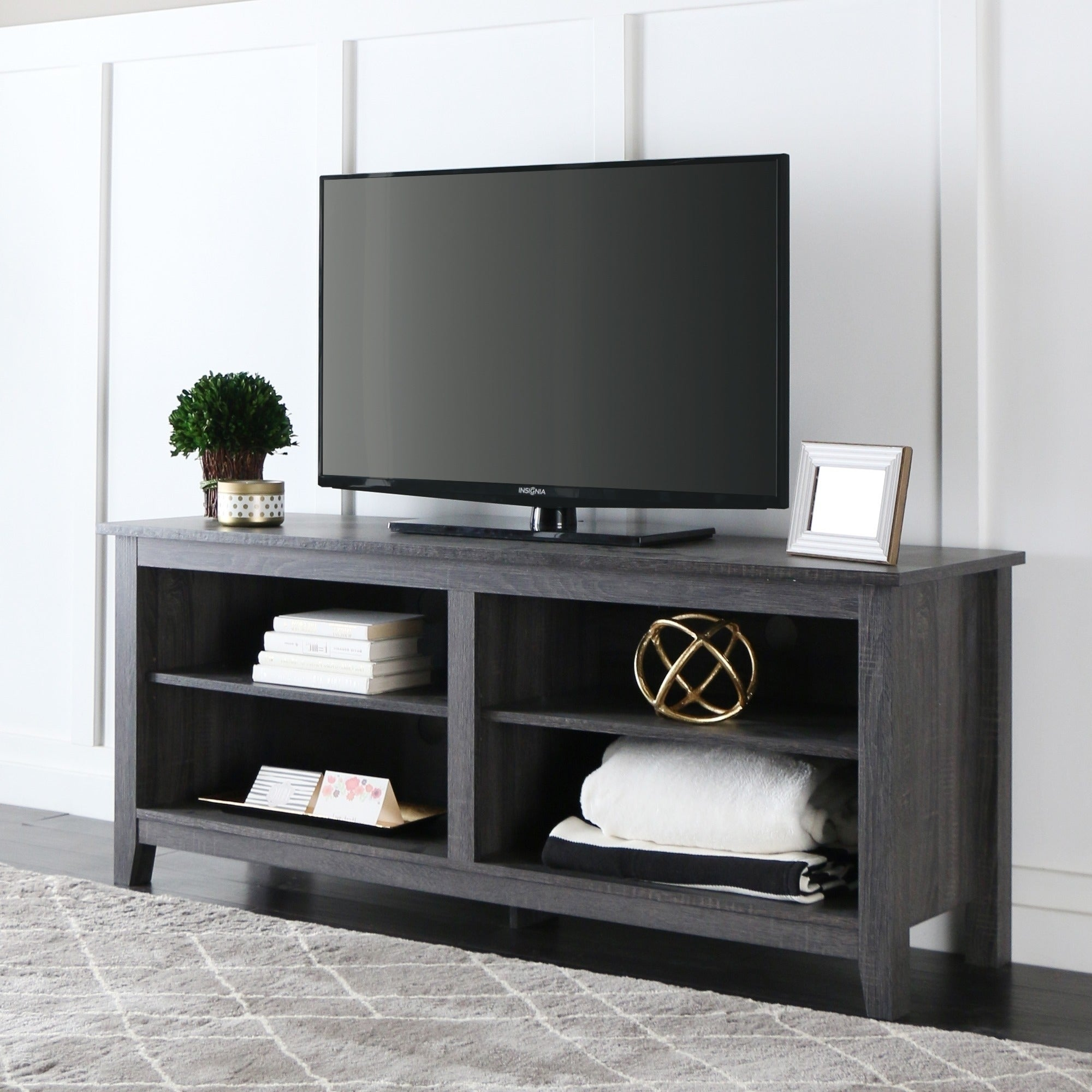 Shop Porch Den Harmony 58 Inch Wood Charcoal Grey Tv Stand Free