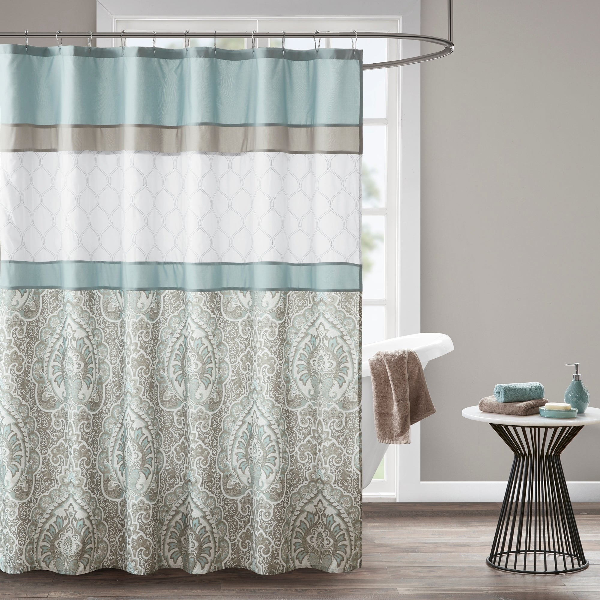 Shop 510 Design Josefina Blue Printed And Embroidered Shower Curtain