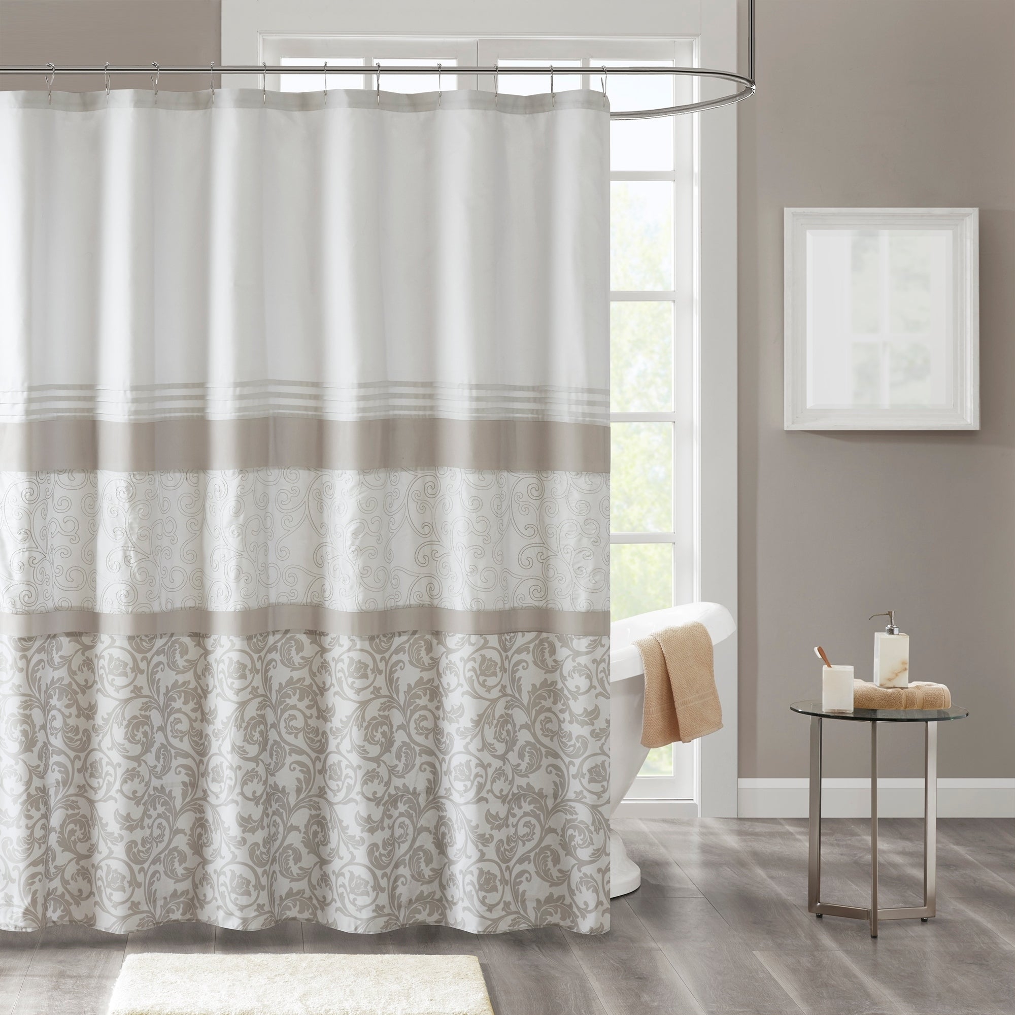 Shop 510 Design Lynda Neutral Printed And Embroidered Shower Curtain