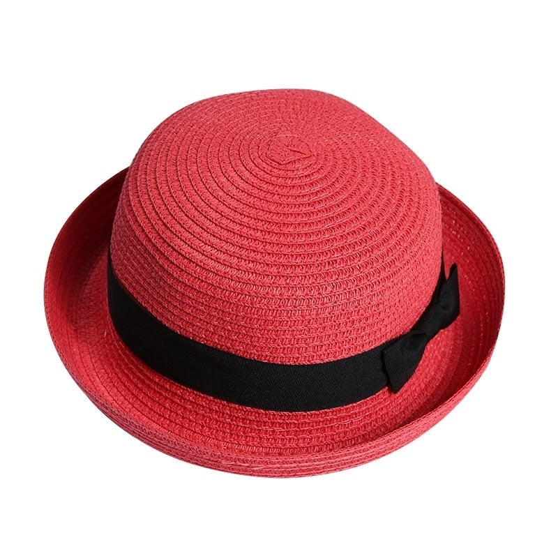 97a0c3e6c12 Shop Girl Soft Straw Round Top Fedora Hat Ribbon Bowler - Free ...