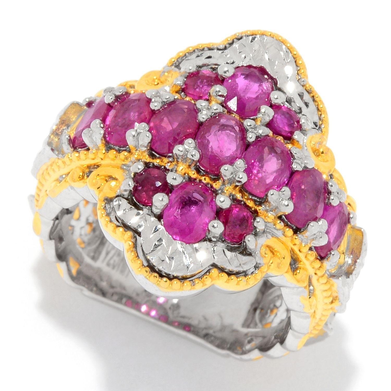 Michael Valitutti Palladium Silver Maningez Nice Ruby Cluster Ring ...