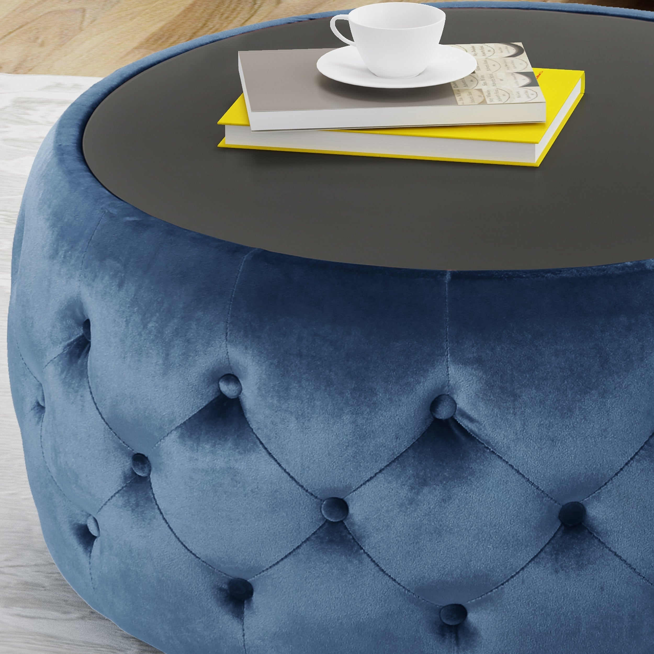 Shop Chana Glam Velvet And Tempered Glass Coffee Table Ottoman By  Christopher Knight Home   On Sale   Free Shipping Today   Overstock.com    21177350