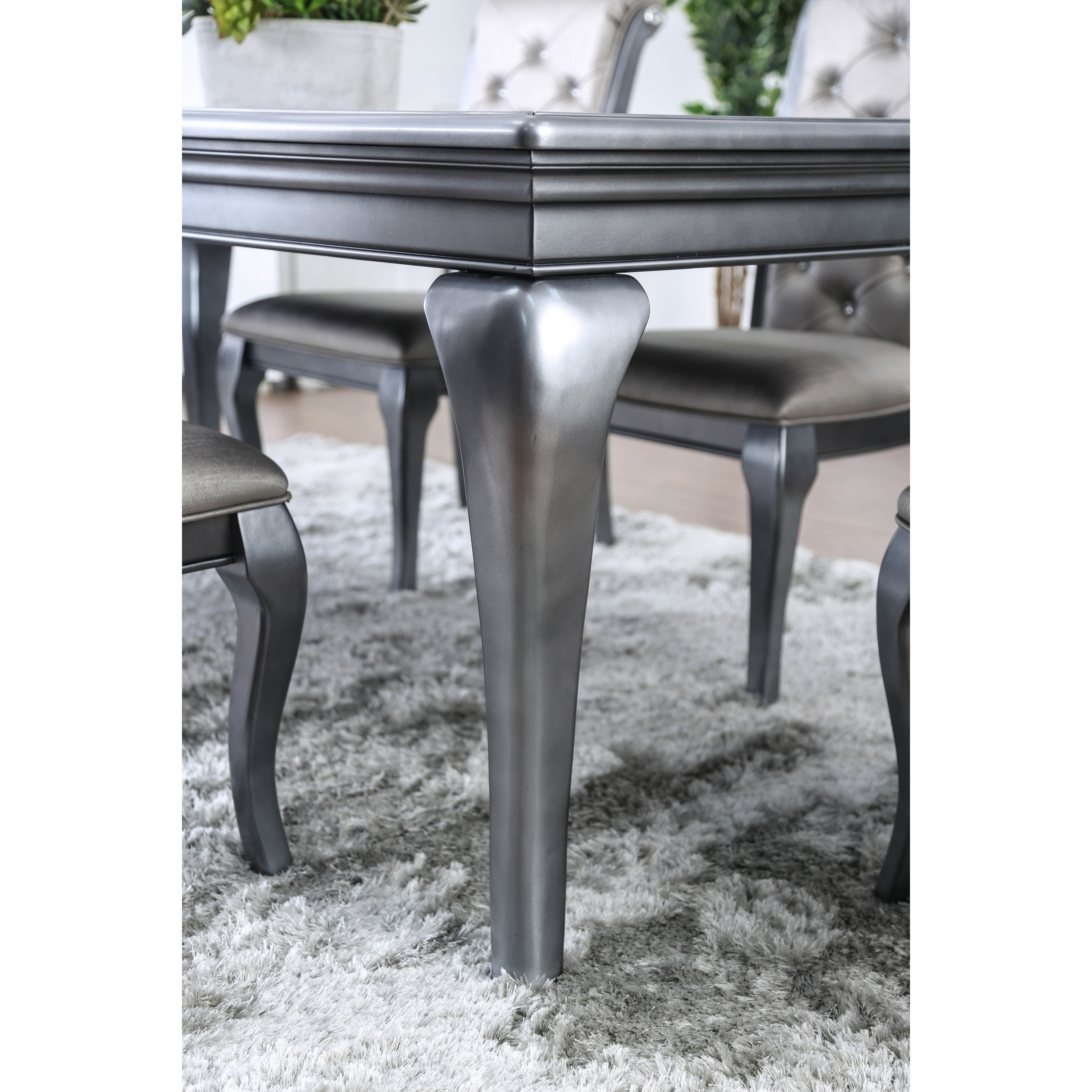 70bb424c7d Shop Furniture of America Valencia Glam Silver Grey Dining Table with Leaf  - On Sale - Free Shipping Today - Overstock - 21177714