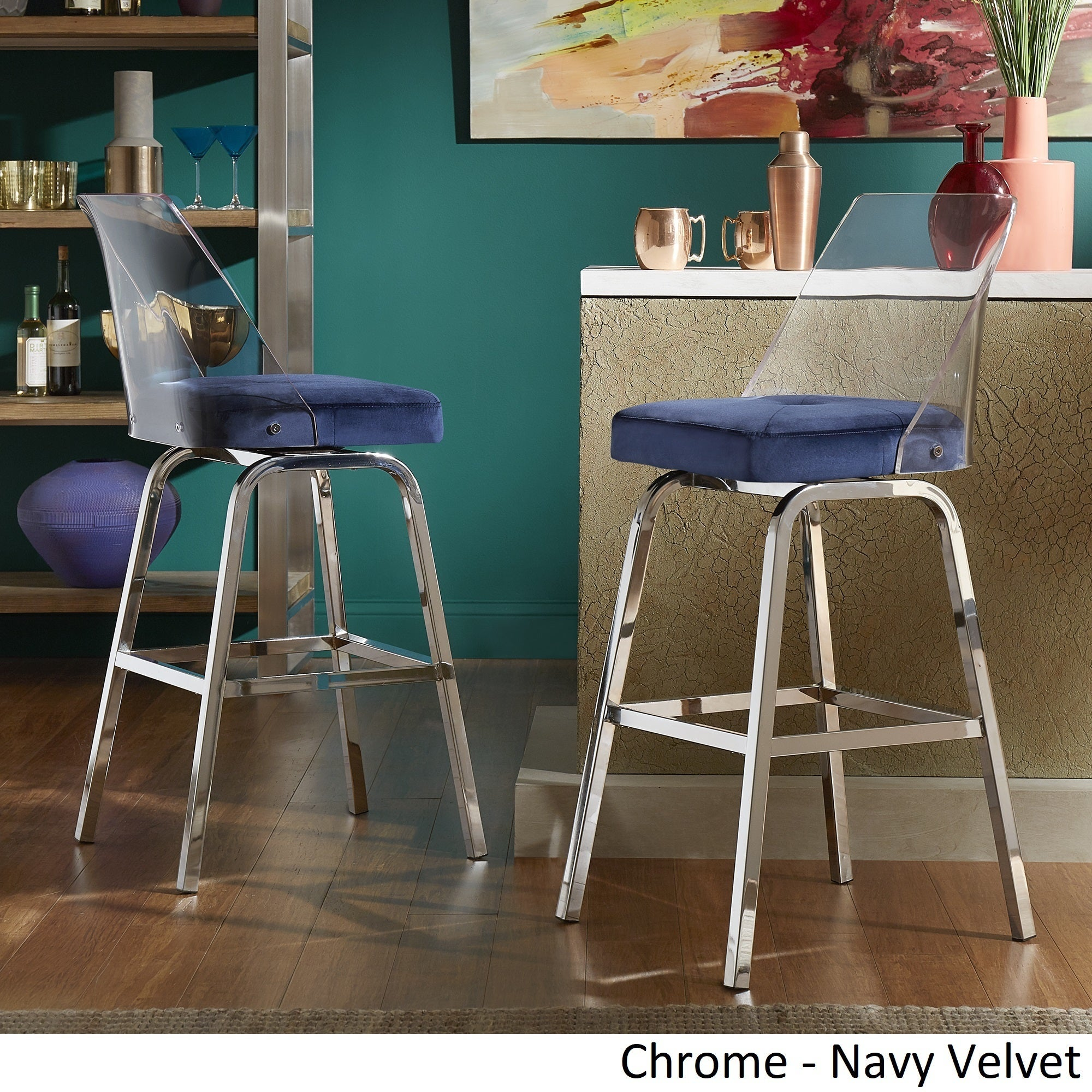 Shop lennox velvet bar height swivel stools set of 2 by inspire q bold on sale free shipping today overstock com 21177925