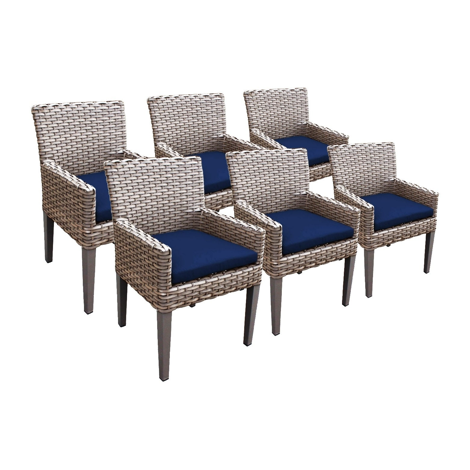 Shop sea breeze oh0634 outdoor patio wicker dining chairs with arms set of 6 free shipping today overstock 21178766