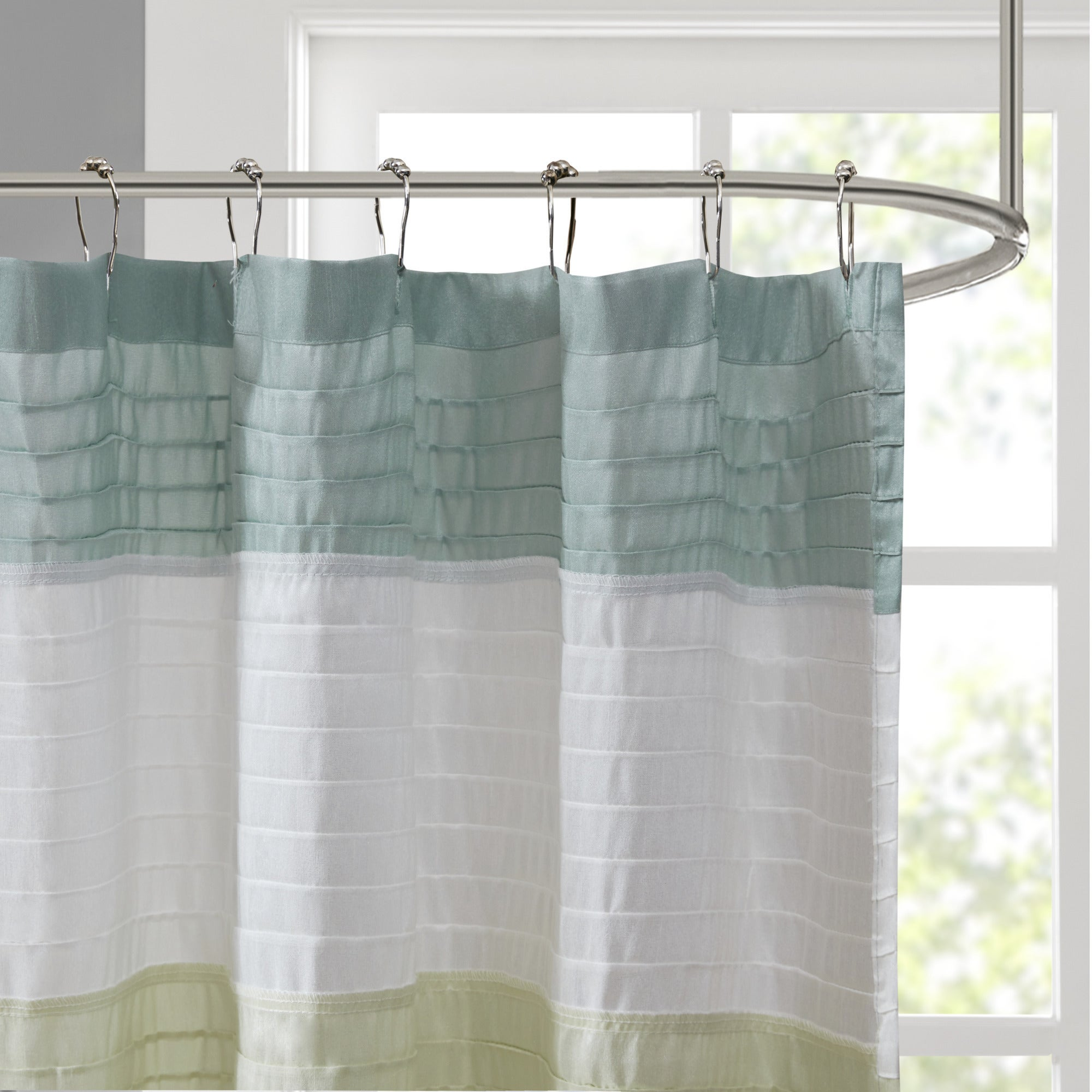 Shop Clay Alder Home Niantic Pieced Faux Silk Shower Curtain