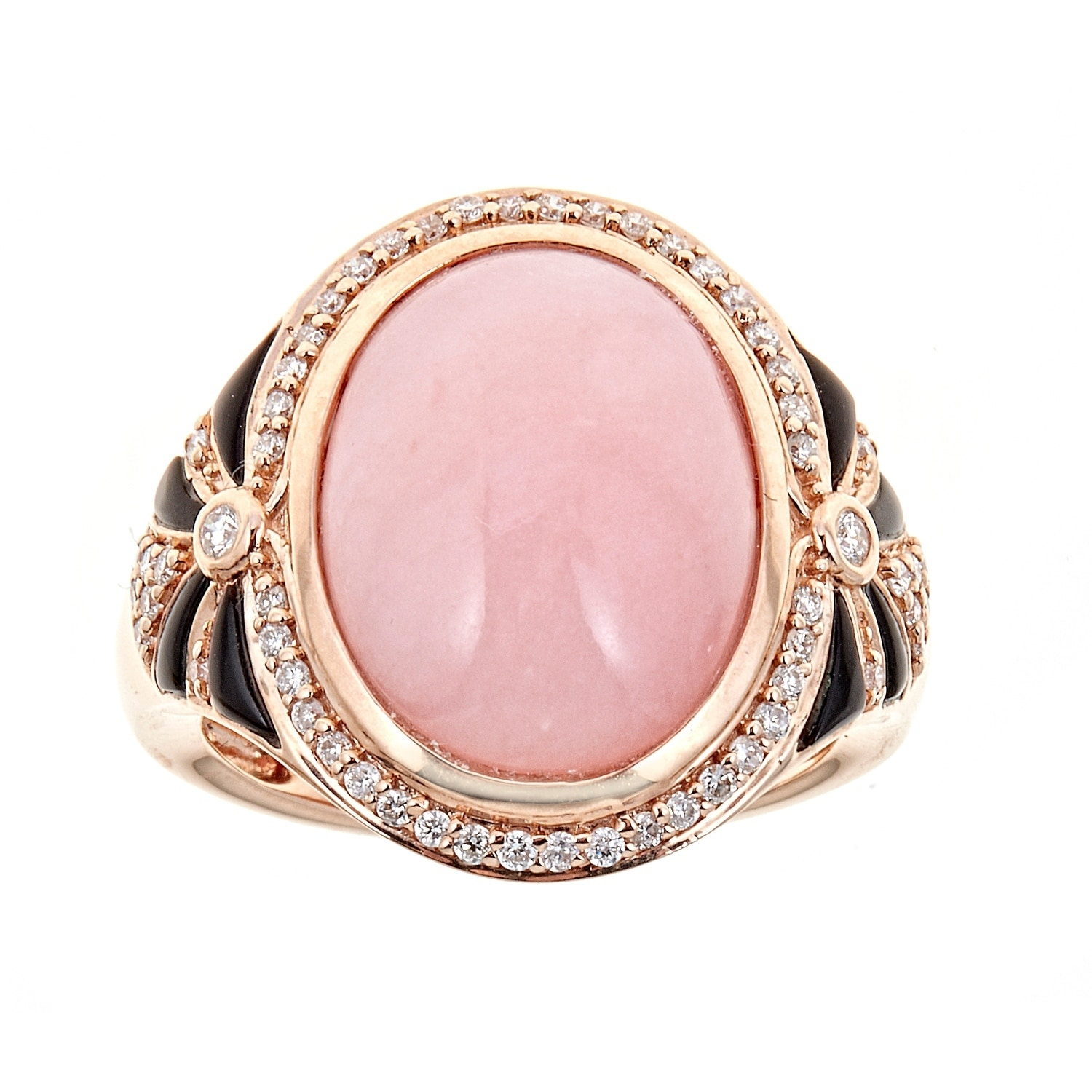 14k Rose Gold Pink Opal, Onyx and Diamond Ring by Anika and August ...