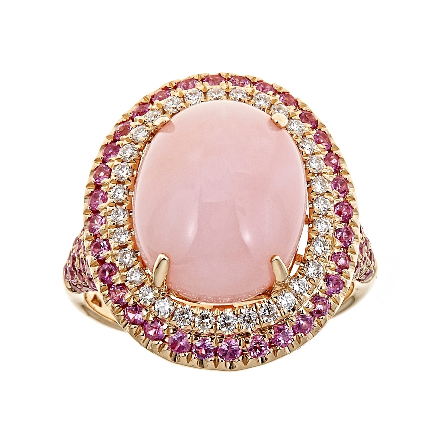 Shop 14K Yellow Gold Pink Opal, Pink Sapphire And Diamond Ring by ...