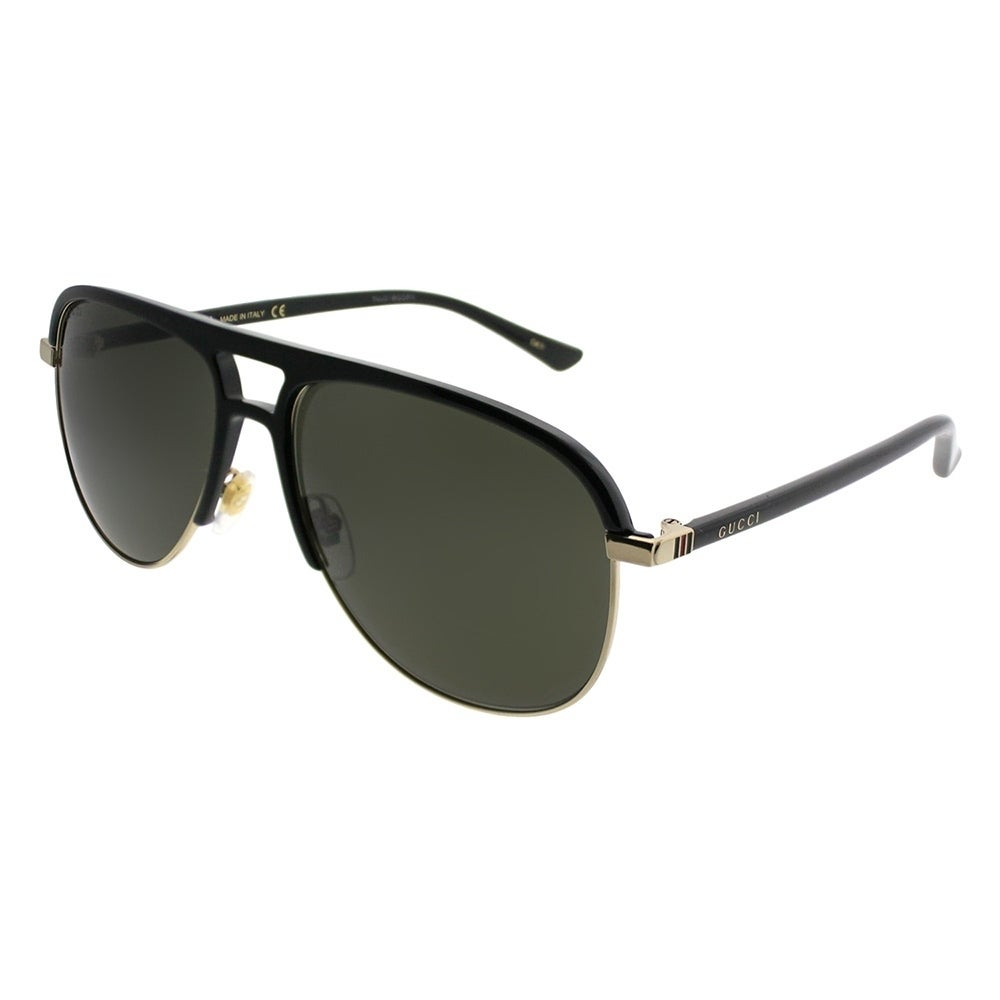 49cf3825a1 Shop Gucci Aviator GG 0292S 001 Unisex Black Frame Grey Lens Sunglasses -  Free Shipping Today - Overstock - 21184982
