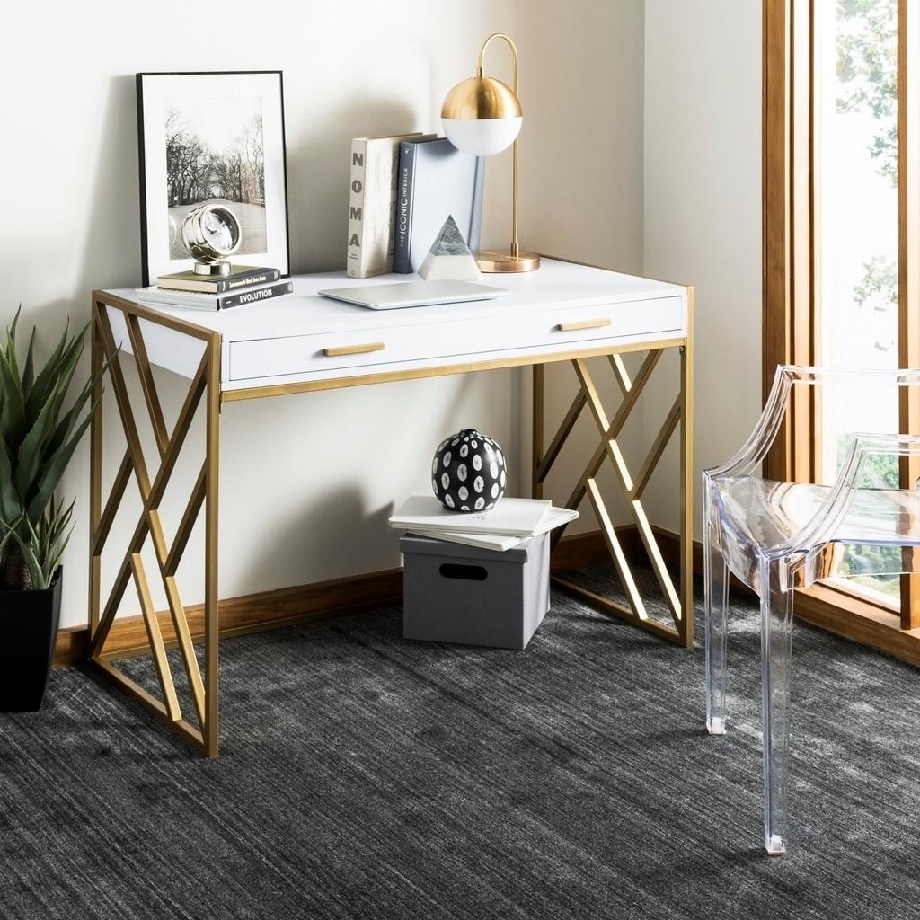 Shop Safavieh Elaine White Gold 1 Drawer Desk On Sale Free