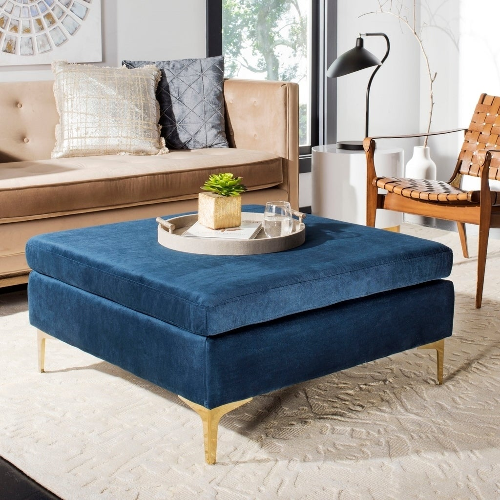 Shop Safavieh Giovanna Navy/ Brass Square Bench - On Sale - Free ...