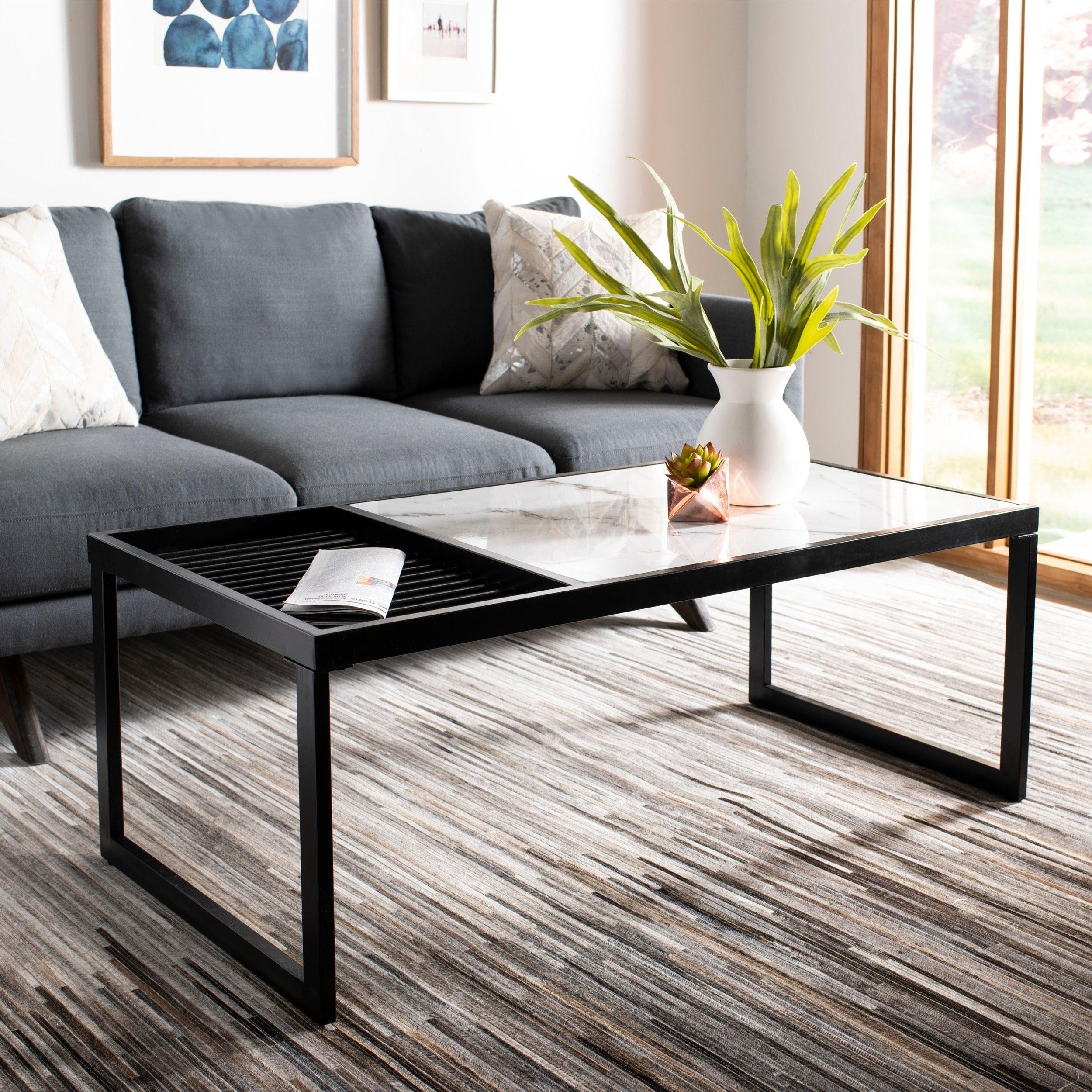 24 X 24 Coffee Table.Safavieh Zuri White Black Coffee Table 48 X 24 X 18