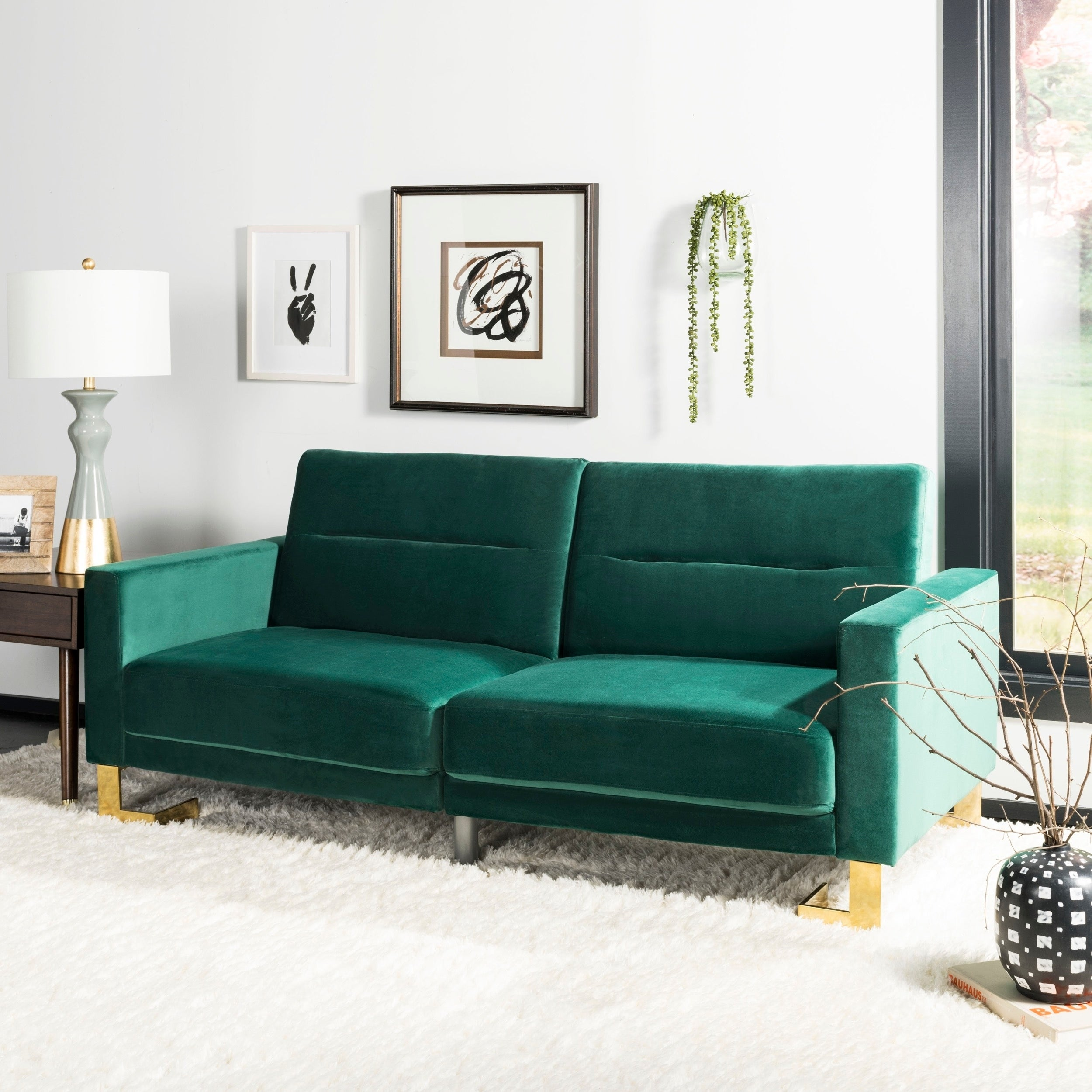 Safavieh Tribeca Emerald Brass Foldable Futon Bed   77.1u0027 X 33.1u0027 X 36.6u0027
