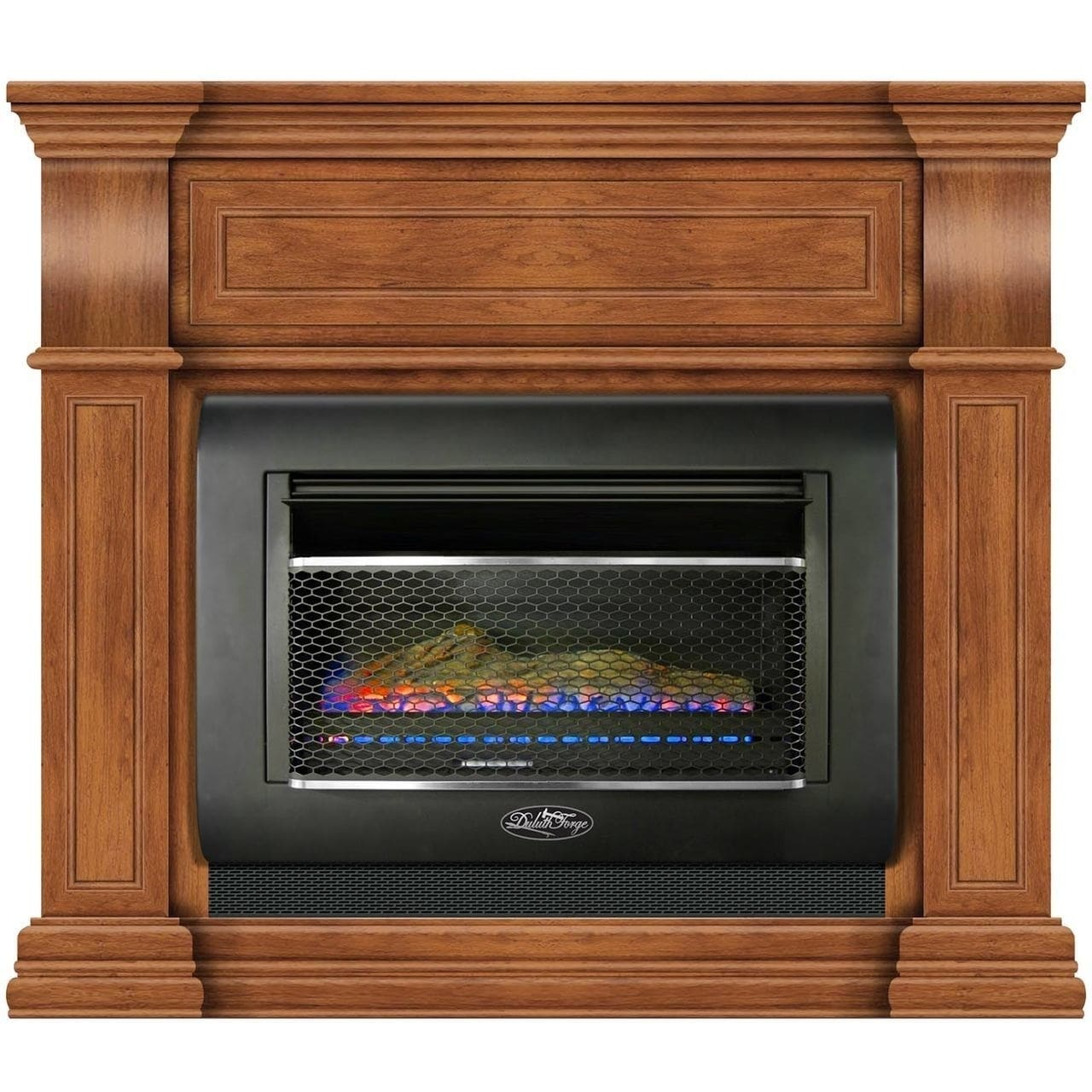 Shop duluth forge mini hearth ventless gas wall fireplace 26000 btu t stat control toasted almond finish model df300l m ta free shipping today