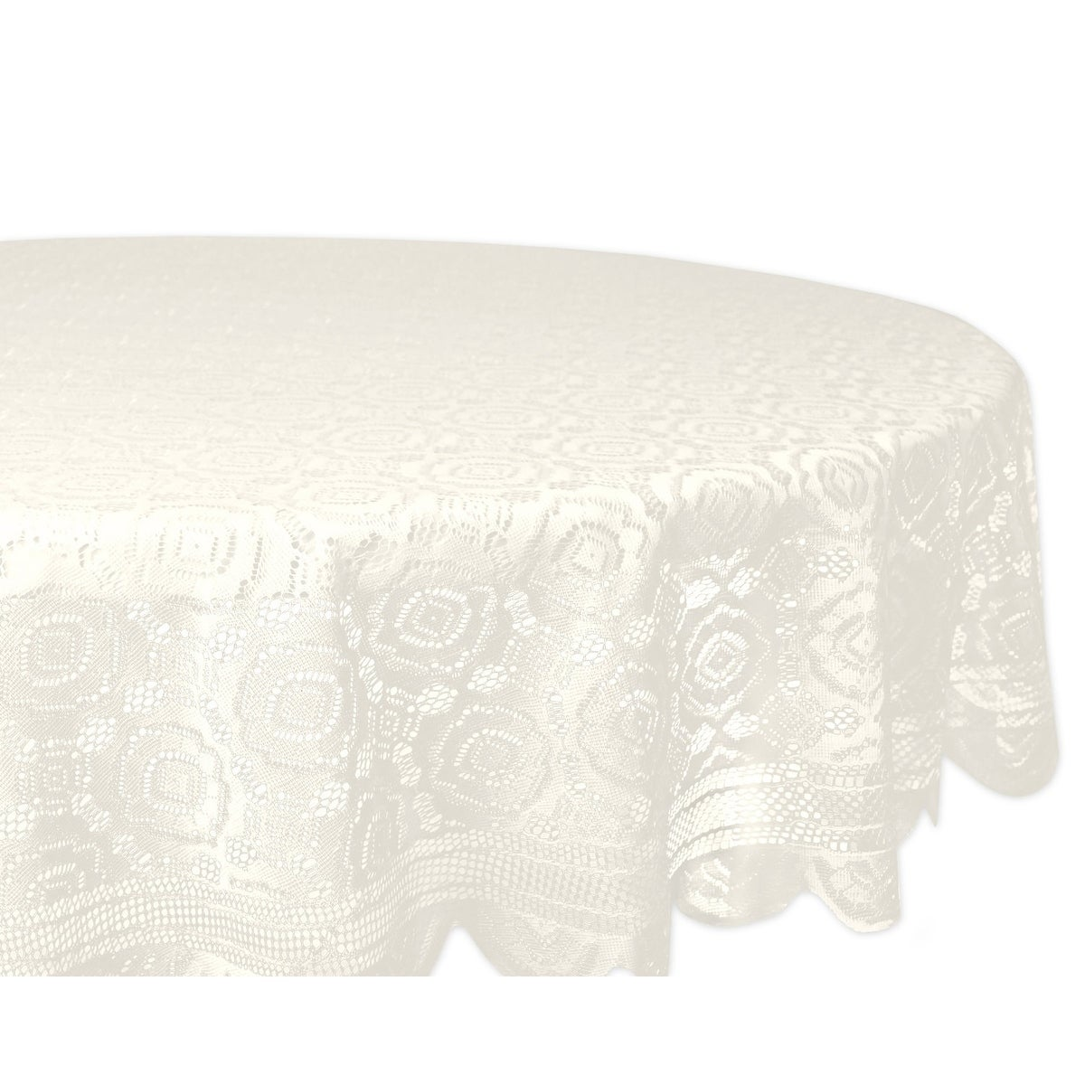 Design Imports Round Cream Vintage Polyester Lace Kitchen Tablecloth ...