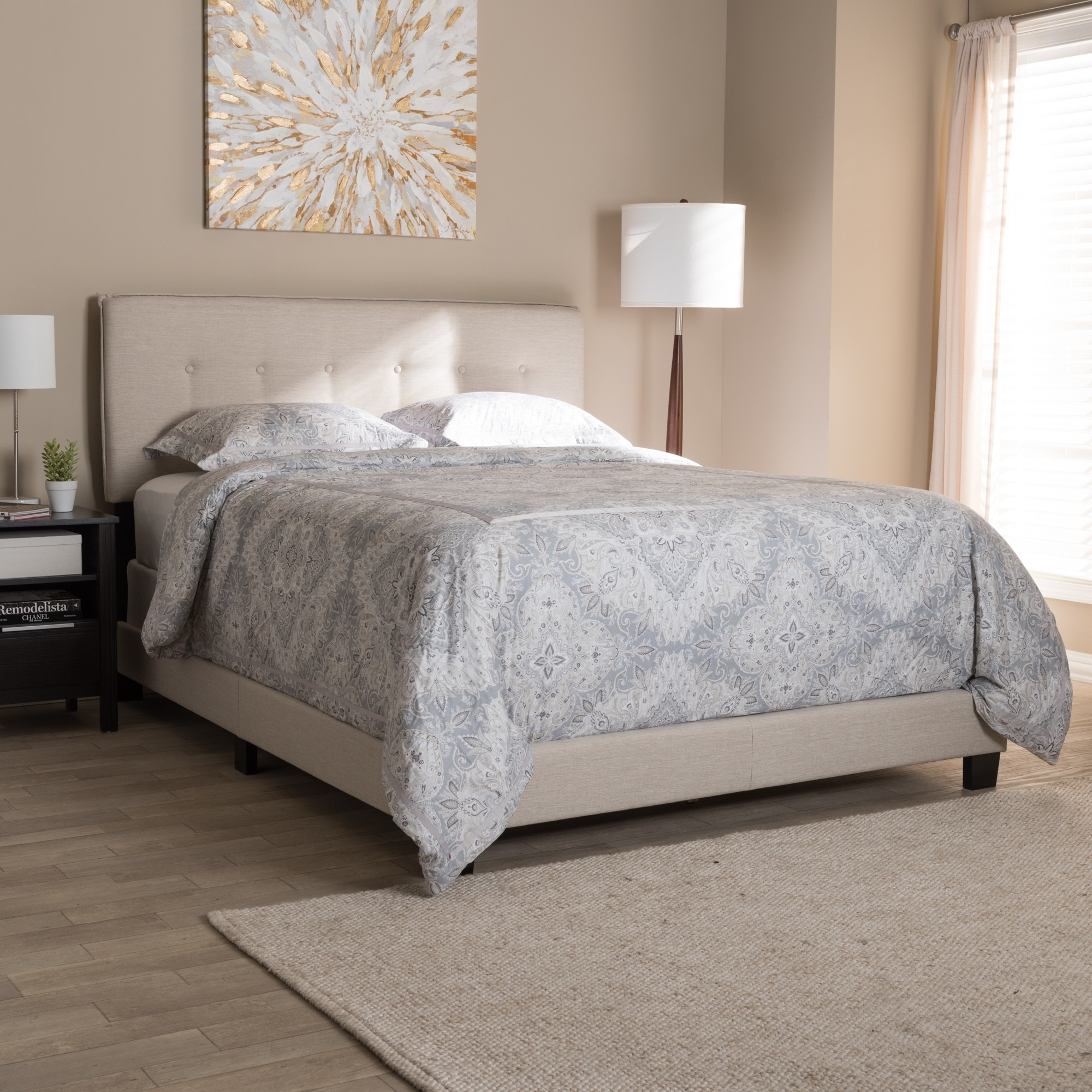 upholstered baxton by fabric contemporary studio today product bed home shipping free sterling garden creek laurel overstock