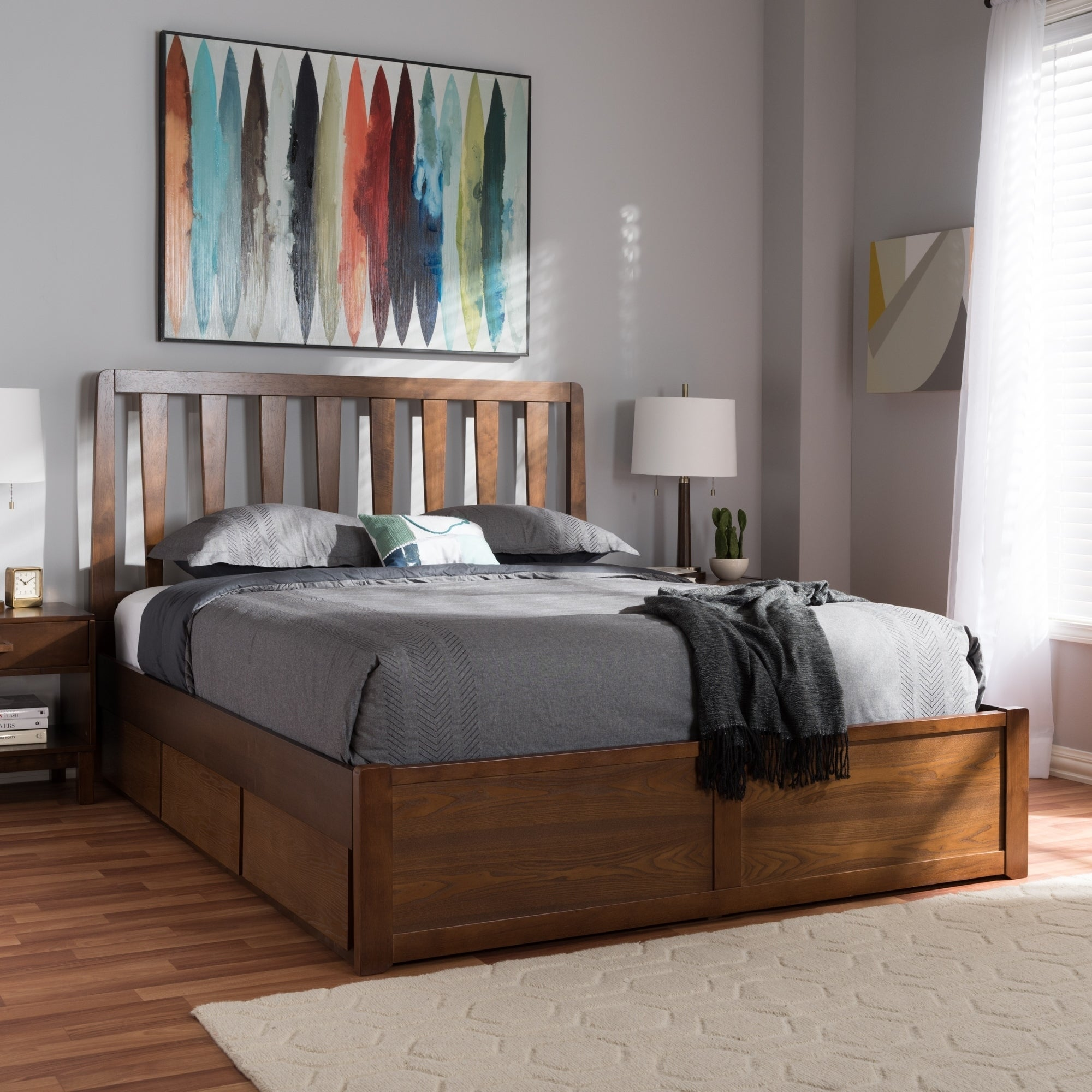 Shop Contemporary Walnut Wood Storage Bed by Baxton Studio - On Sale - Free Shipping Today - Overstock.com - 21194722 & Shop Contemporary Walnut Wood Storage Bed by Baxton Studio - On Sale ...