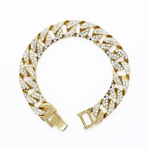 db919cbb46a Shop Hip Hop Iced Out Gold Bling Luxurious Men s Rapper Watch Iced Out Gold  Tone Cuban Bracelet Set - N A - Free Shipping On Orders Over  45 -  Overstock - ...