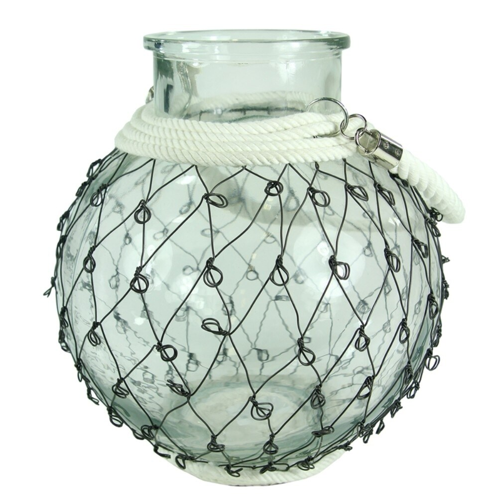 Chicken Wired Peculiar Clear Glass Lantern With Rope Handle And Base ...