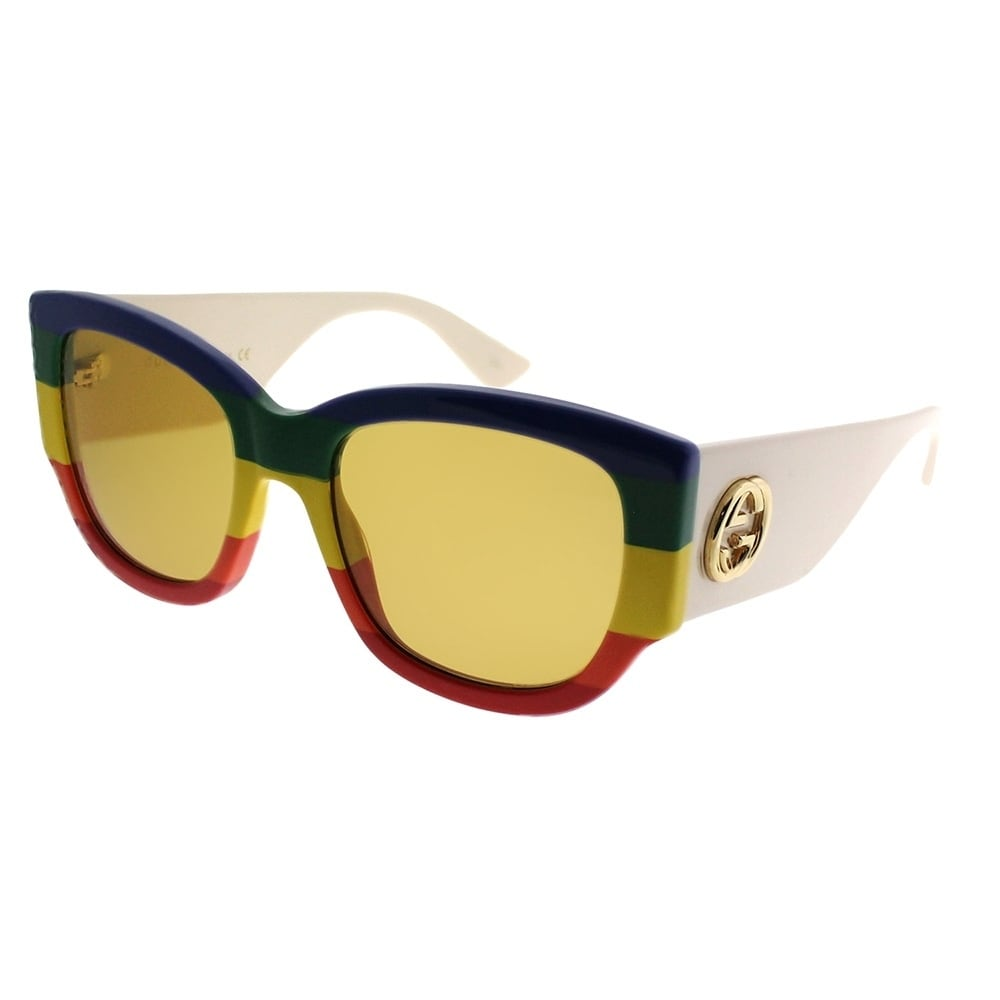 4f11a713a43 Shop Gucci Square GG 0276S 006 Women Blue Green Yelow Red Frame Brown Lens  Sunglasses - Free Shipping Today - Overstock - 21212313
