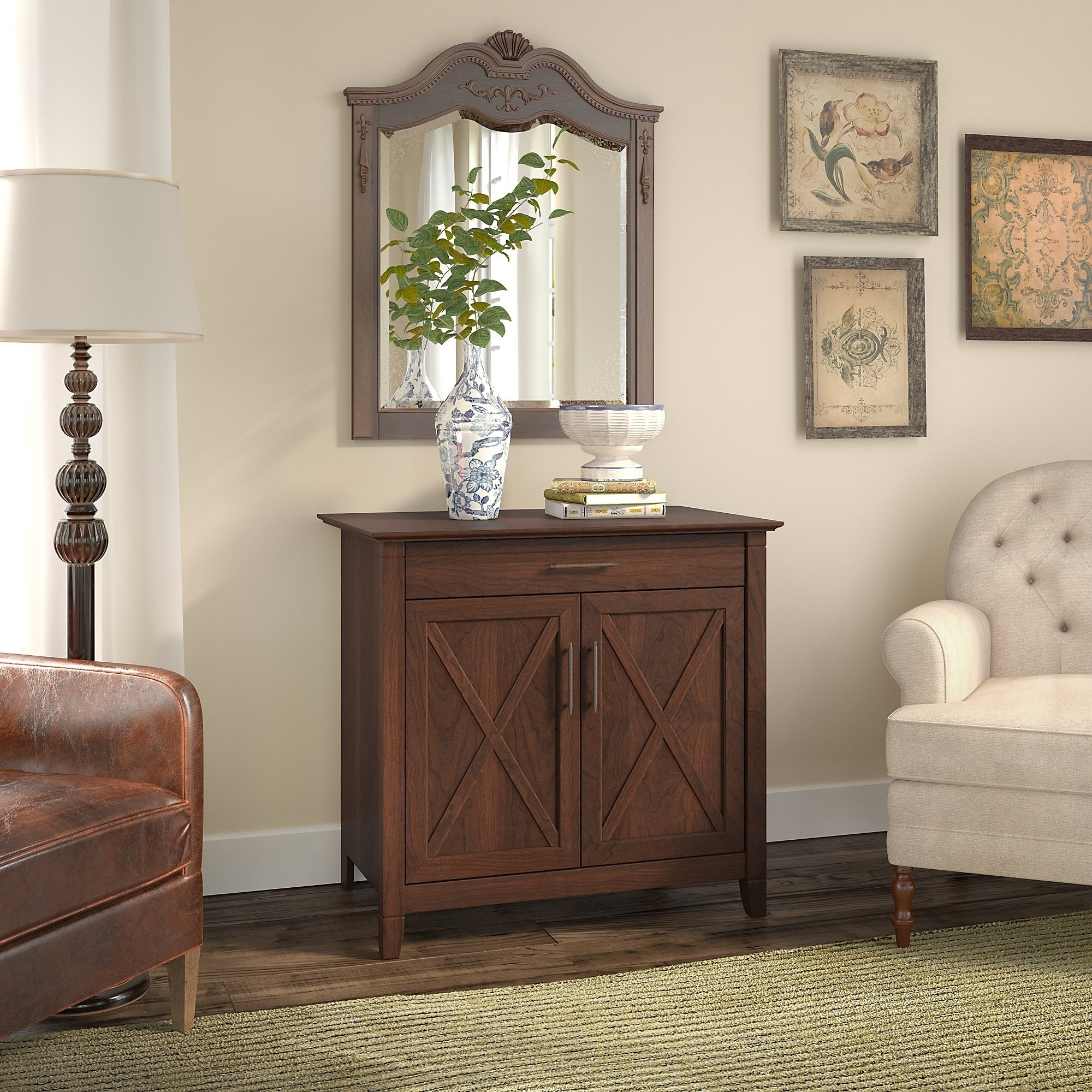 Shop Bush Furniture Key West Laptop Storage Desk Credenza In Bing Cherry    Free Shipping Today   Overstock.com   21214029