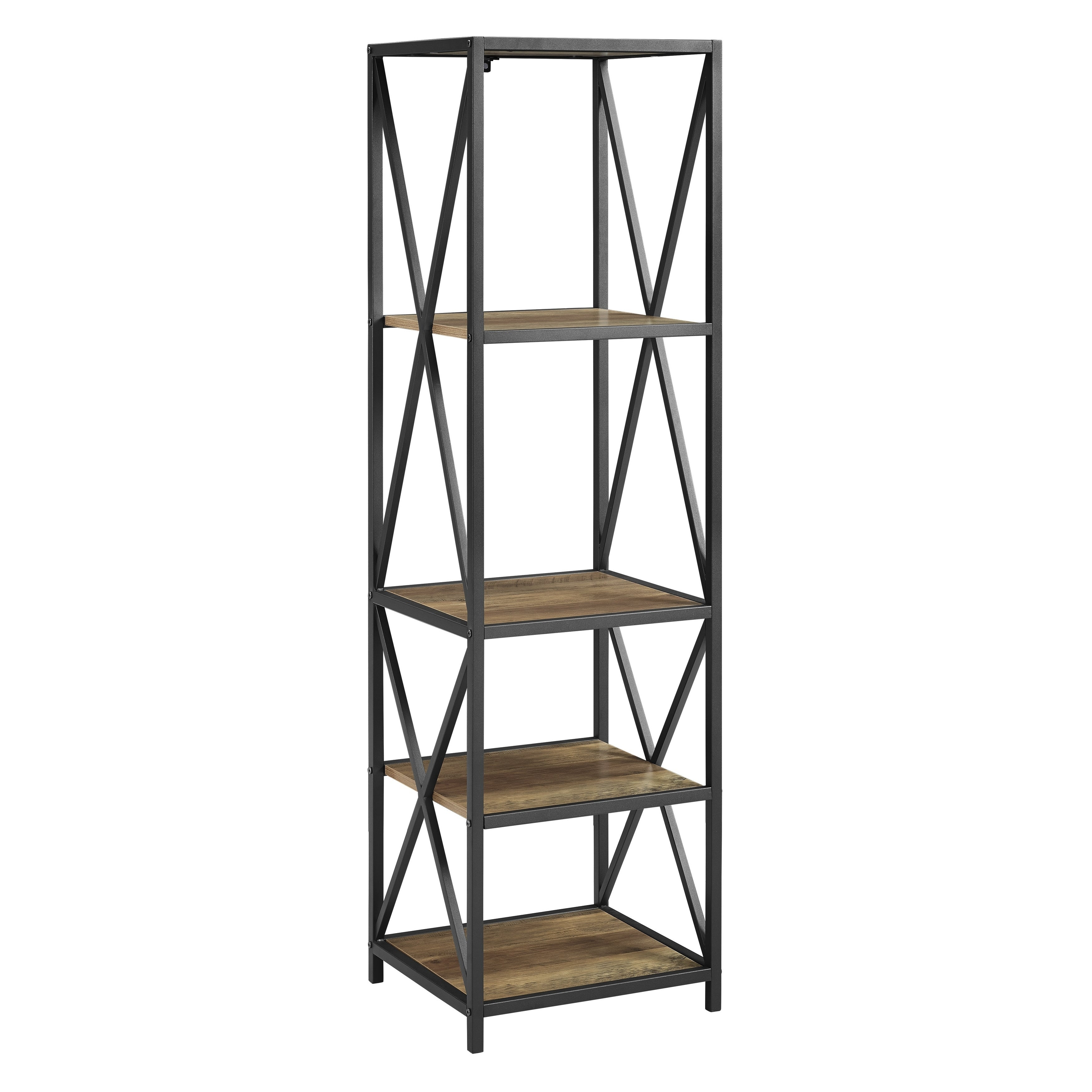 Shop 61 tall x frame metal wood bookshelf 18 x 16 x 61h free shipping today overstock com 21214376