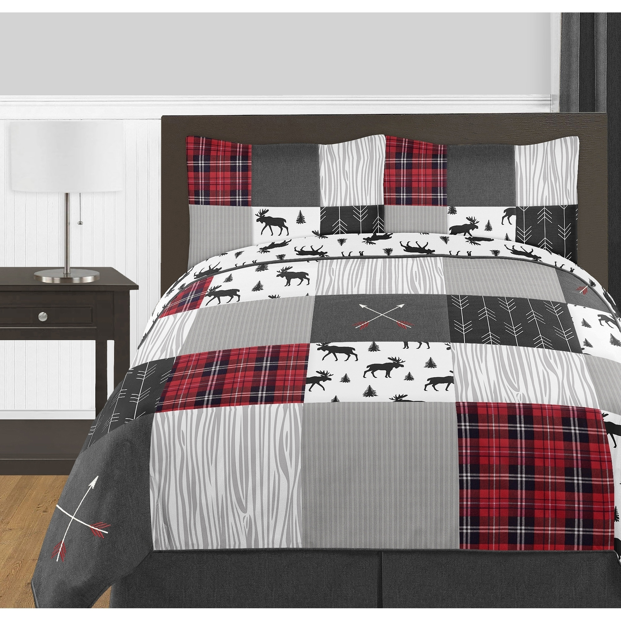 Sweet Jojo Designs Grey Black Red Woodland Plaid Arrow Rustic Patch Collection Boy 3pc Full Queen Size Comforter Set Overstock 21218473
