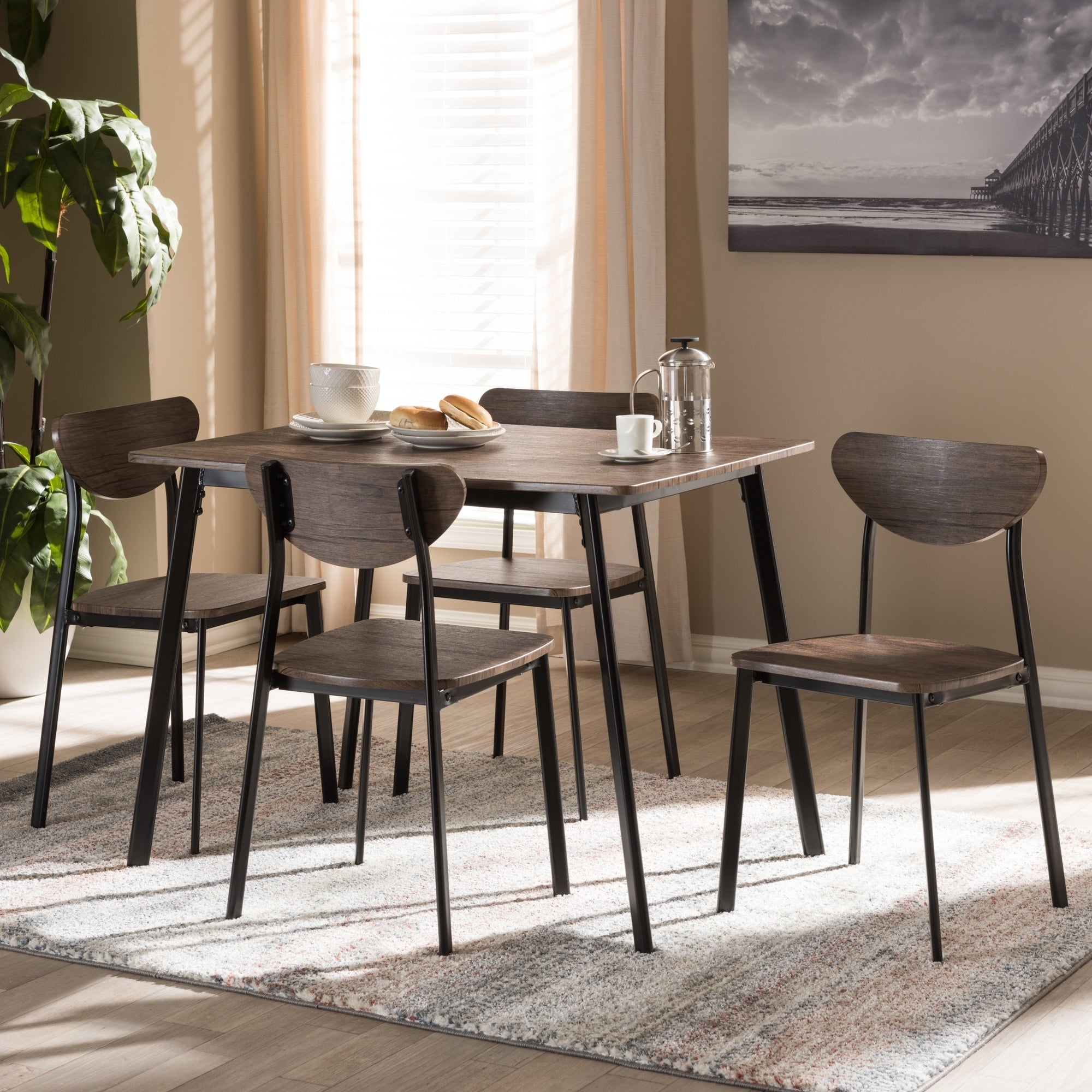 Shop Mid Century 5 Piece Dining Set By Baxton Studio Free Shipping