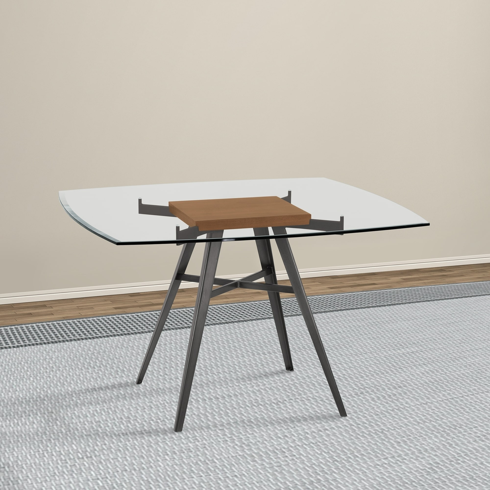 Armen Living Ojai Contemporary Dining Table In Mineral Finish With Clear Gl Top And Walnut Wood Insert