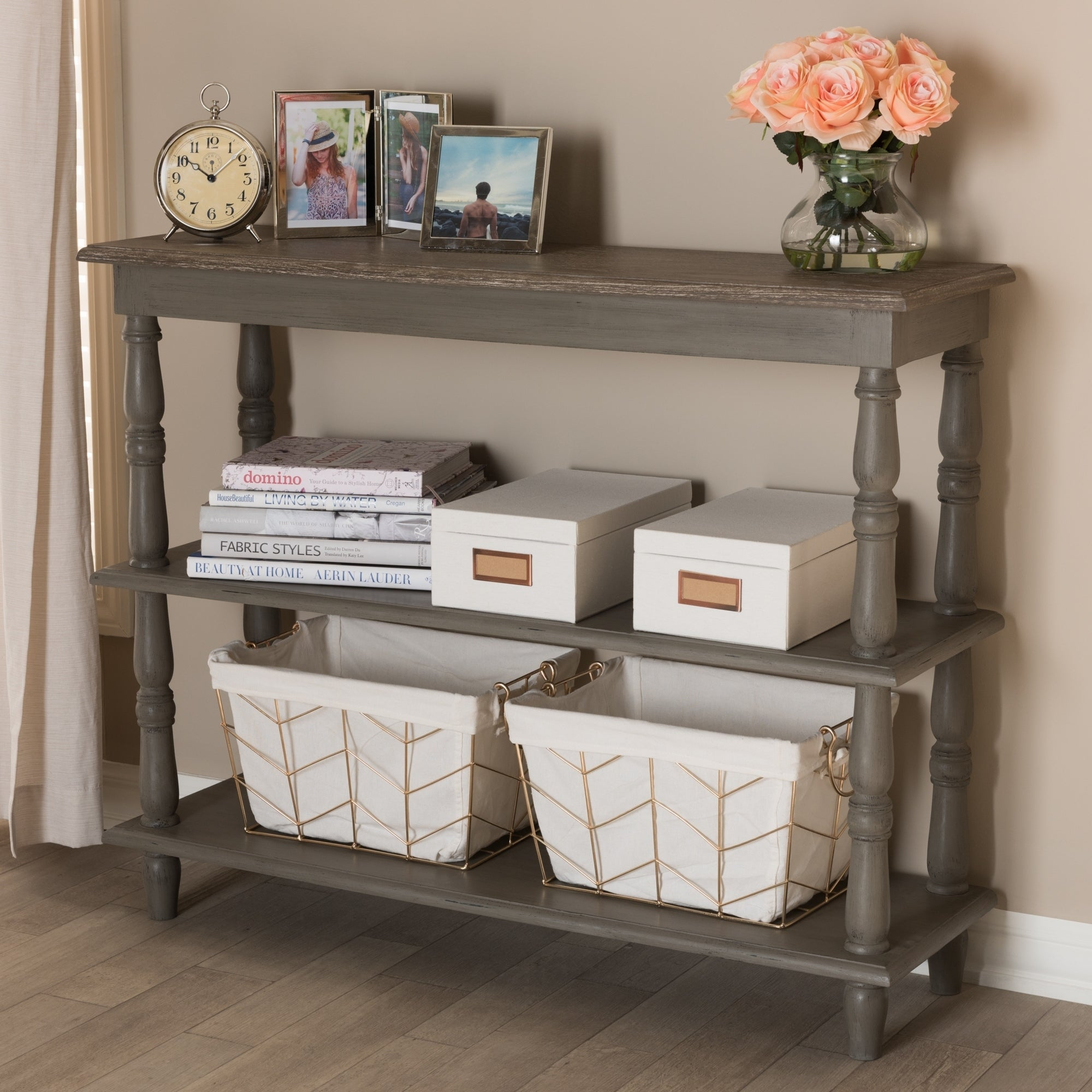 Shop Country Cottage Brown 2 Shelf Console Table By Baxton Studio   On Sale    Free Shipping Today   Overstock.com   21219924