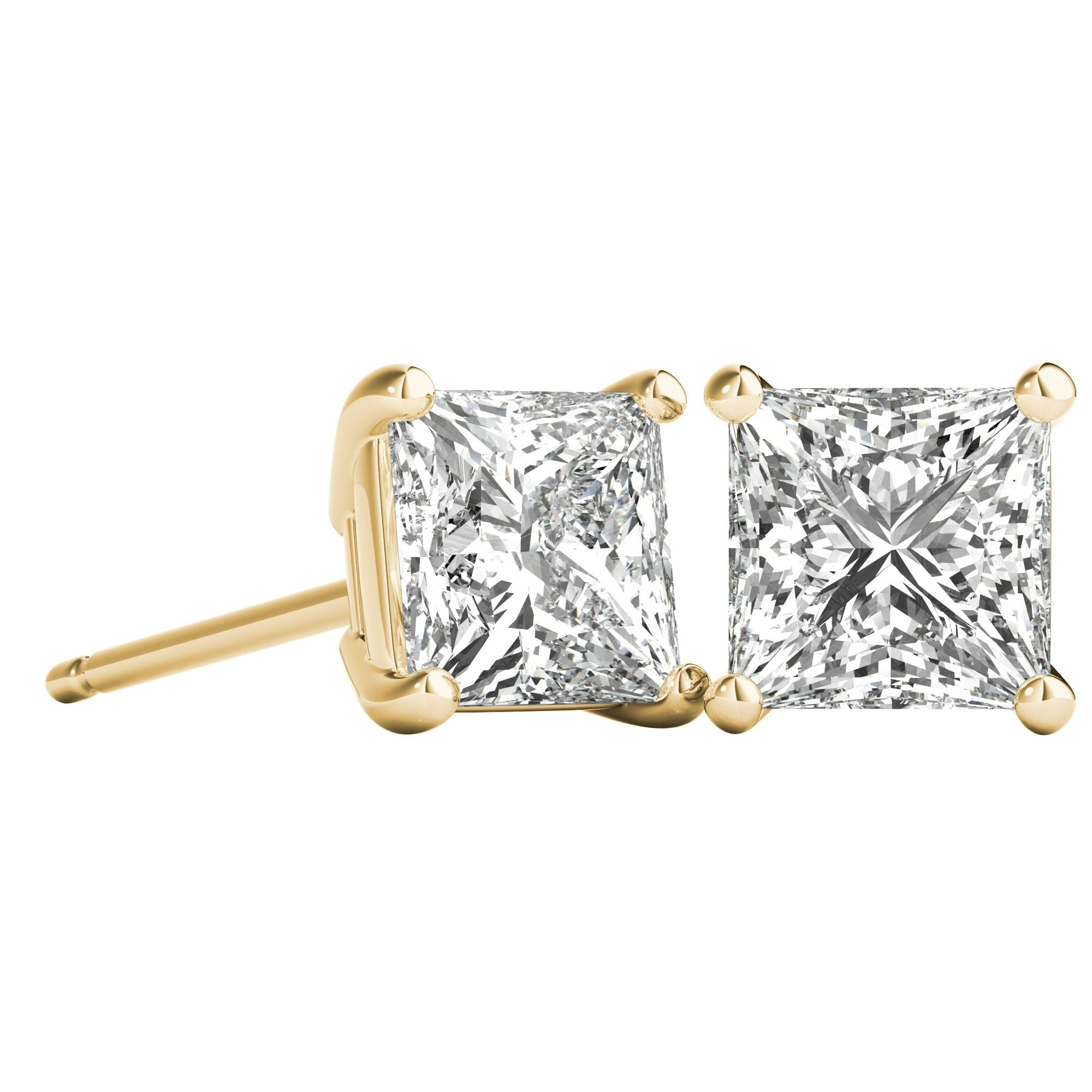 e5ab625c3 Shop Seraphina 18k Gold 1ct TDW Princess Cut Diamond Solitaire Stud  Earrings - Free Shipping Today - Overstock - 21220465