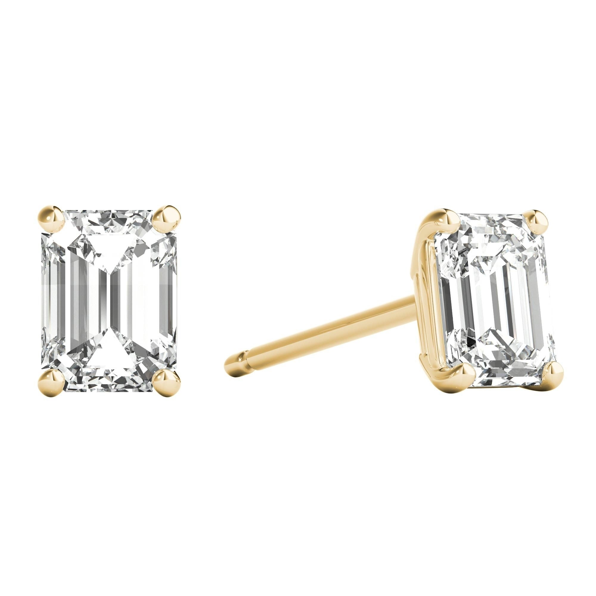 59eeee3d1 Seraphina 18k Gold 0.60ct TDW Emerald Cut Diamond Solitaire Stud Earrings
