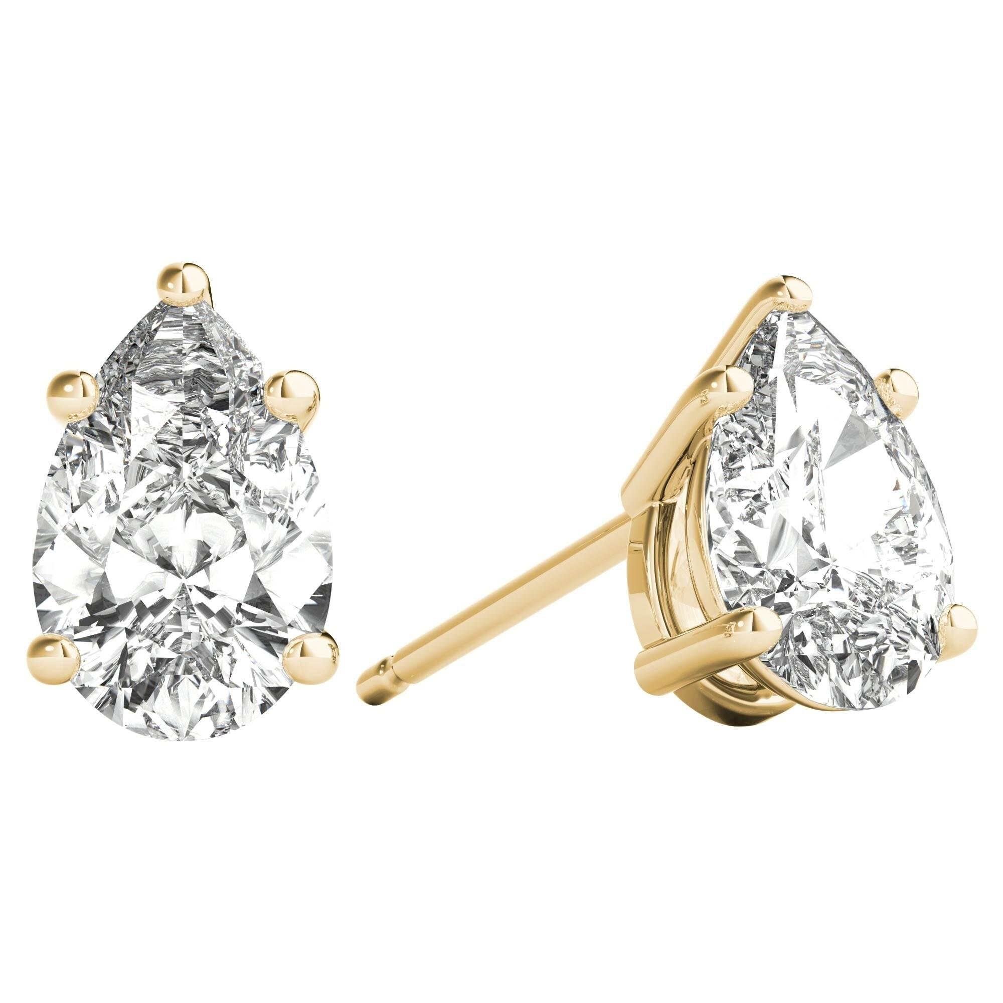b58ec24ca Seraphina 14k Gold 0.80ct TDW Pear Cut Diamond Solitaire Stud Earrings