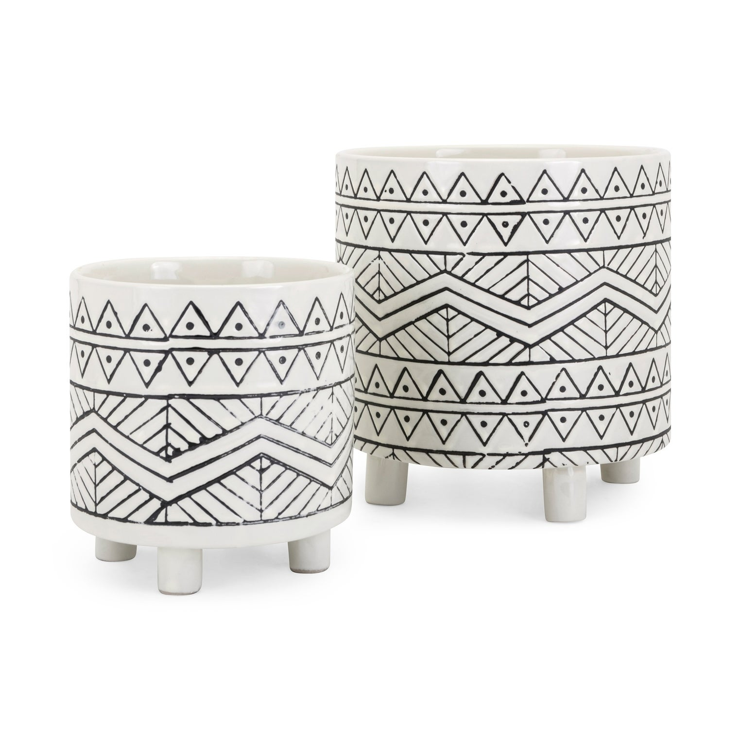 Shop Ratlif Black And White Planters Set Of 2 On Sale Free