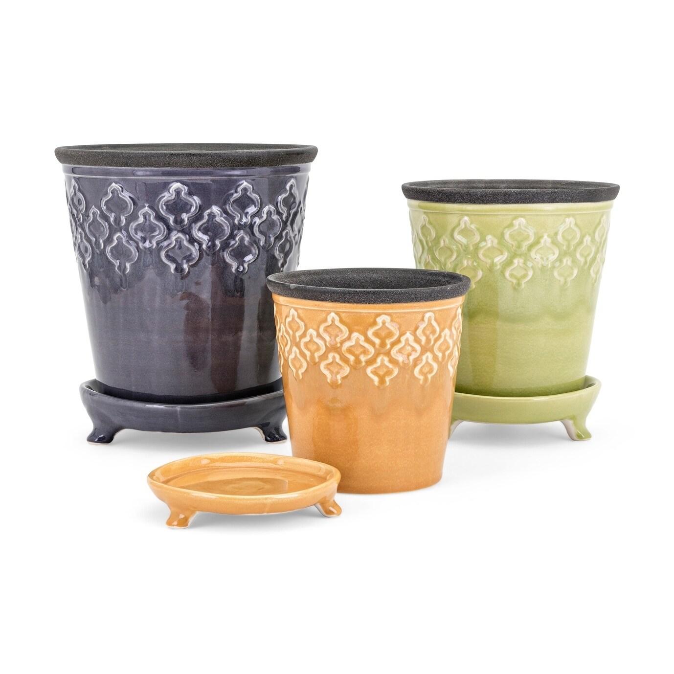 Emma Multi Color Ceramic Flower Pots Set Of 3